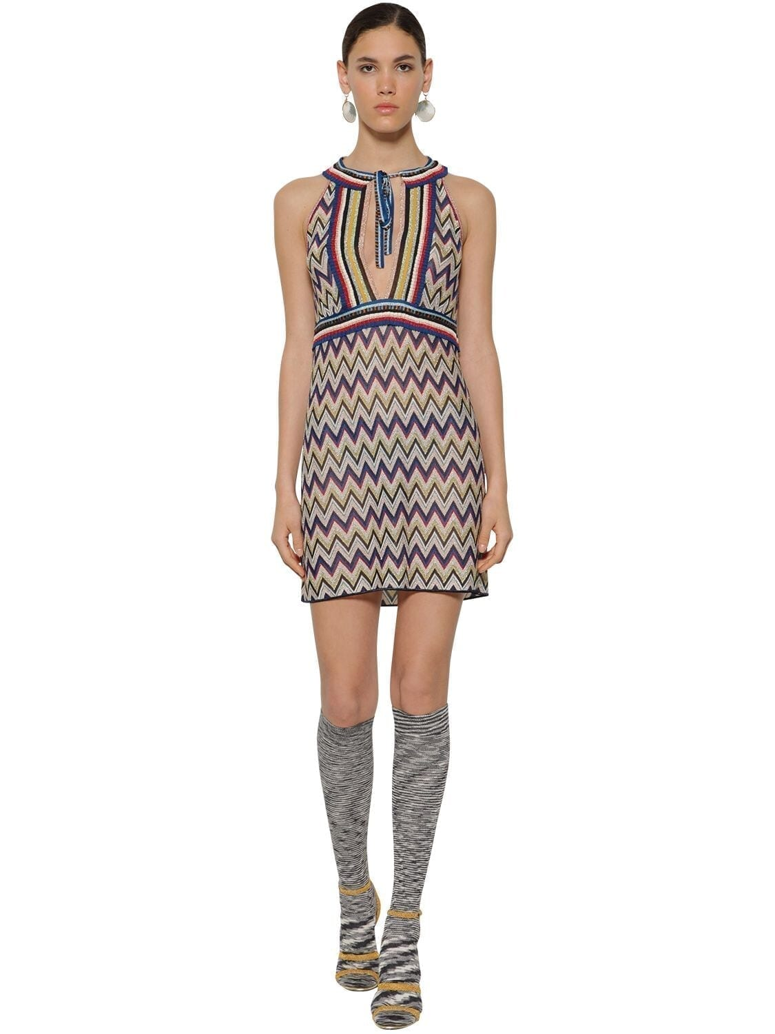 MISSONI Zigzag Printed Knit Lamé Mini Dress