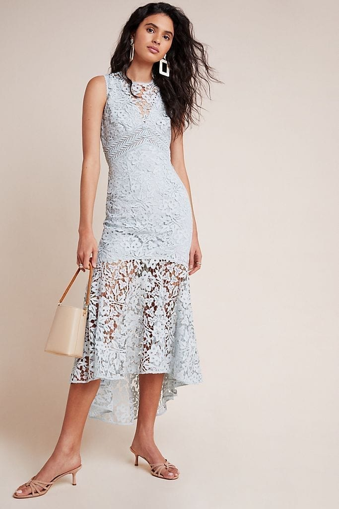 ML MONIQUE LHUILLIER ML Lhuillier Flounced Lace Maxi Dress