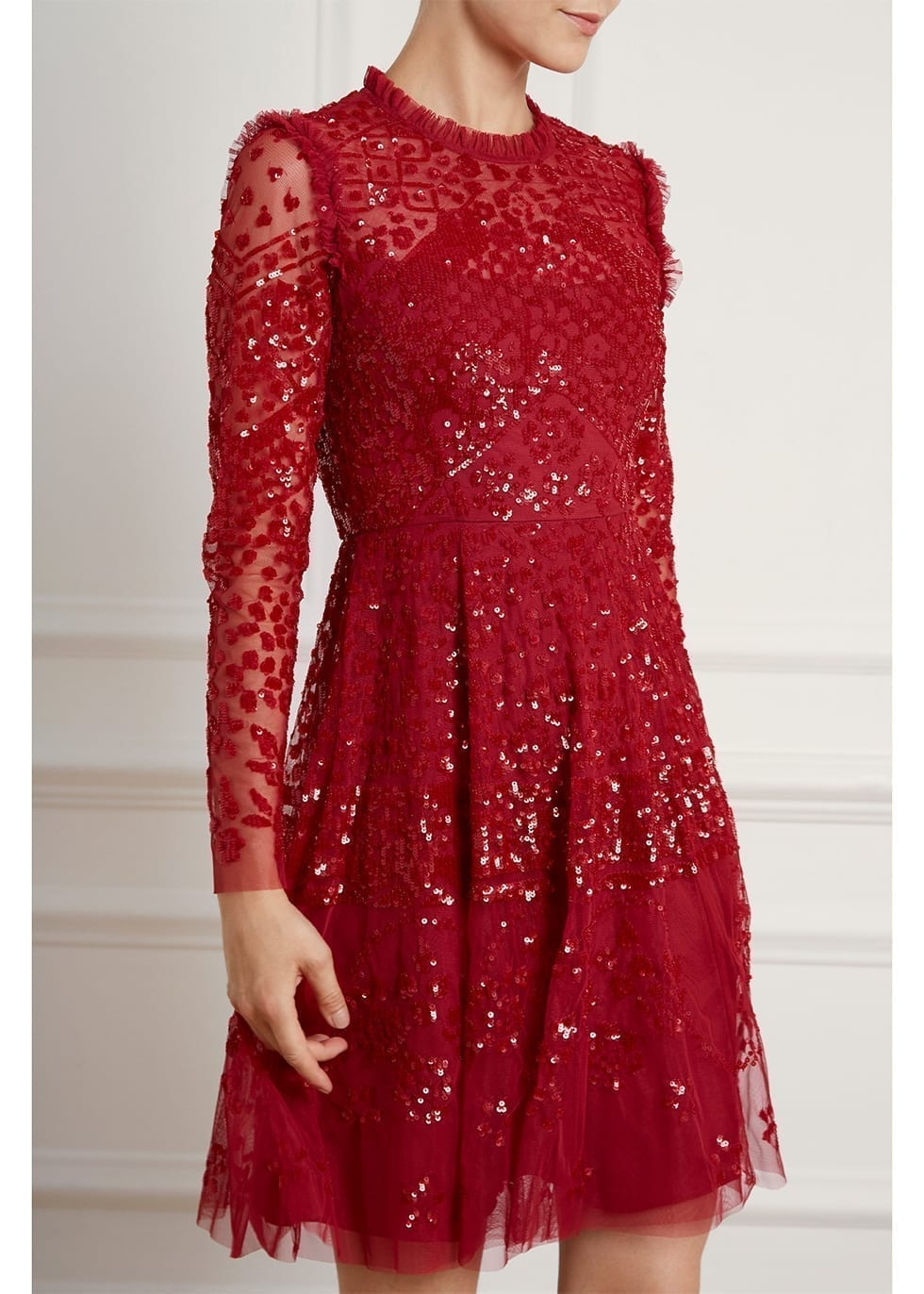NEEDLE & THREAD Aurora Red Sequin-embellished Tulle Mini Dress
