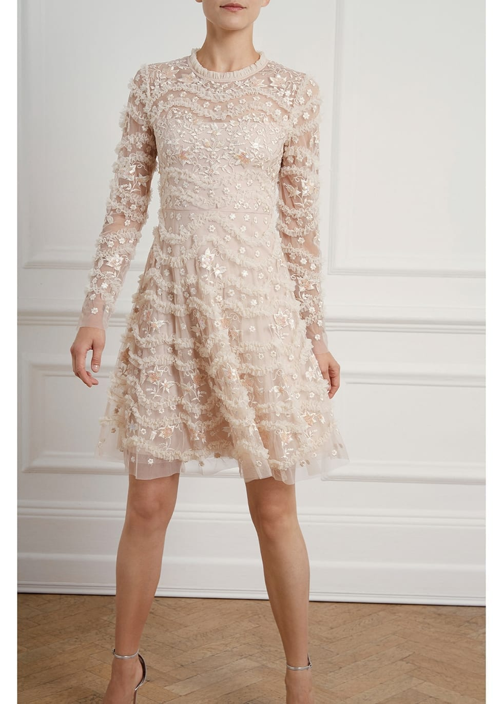 NEEDLE & THREAD Ruffle Bloom Embroidered Tulle Dress