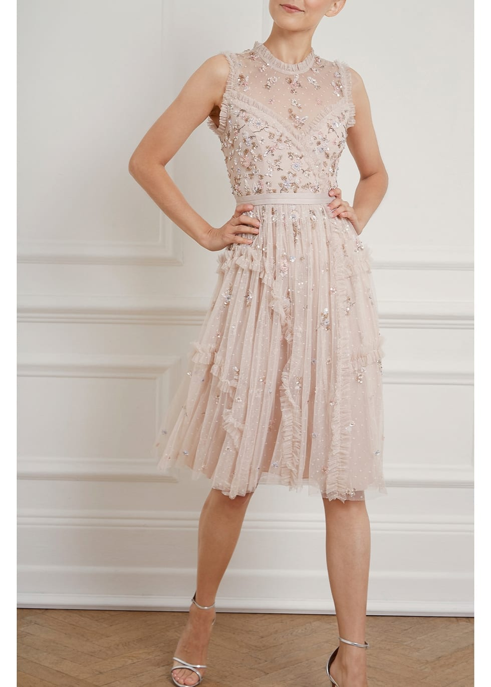 NEEDLE & THREAD Shimmer Ditsy Blush Embellished Tulle Dress