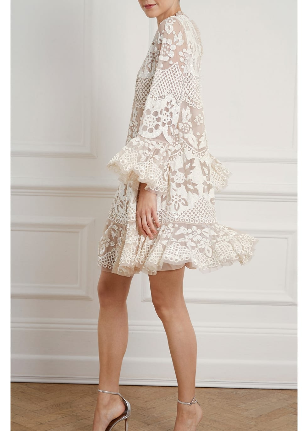 NEEDLE & THREAD Snowdrop White Sequin-embellished Tulle Mini Dress