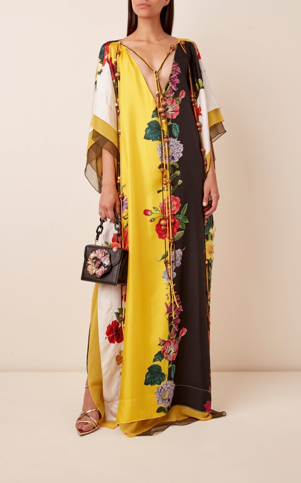 OSCAR DE LA RENTA Floral-Print Silk Caftan Dress