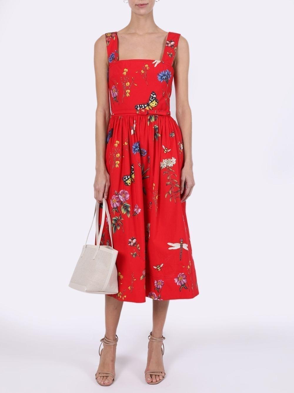 OSCAR DE LA RENTA Scarlet Red Printed Day Dress