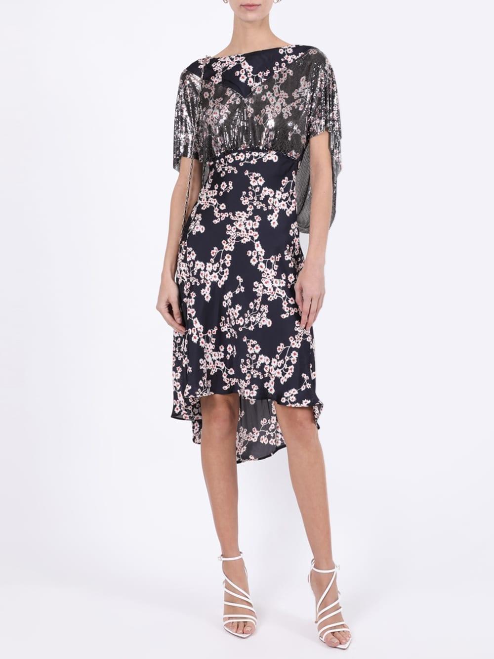 PACO RABANNE Black Sakura Floral Print Dress