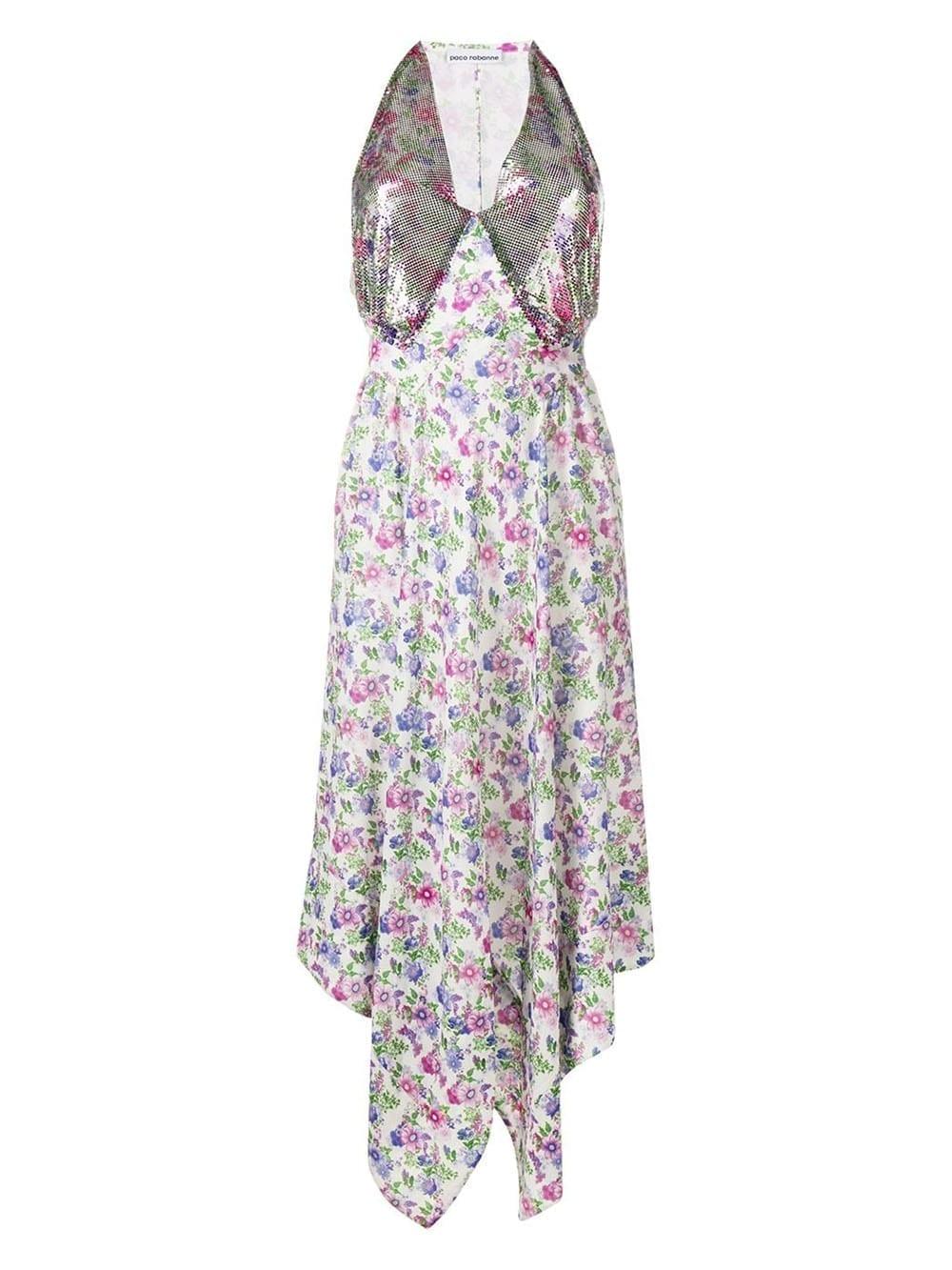 PACO RABANNE Metallic Floral Midi Dress