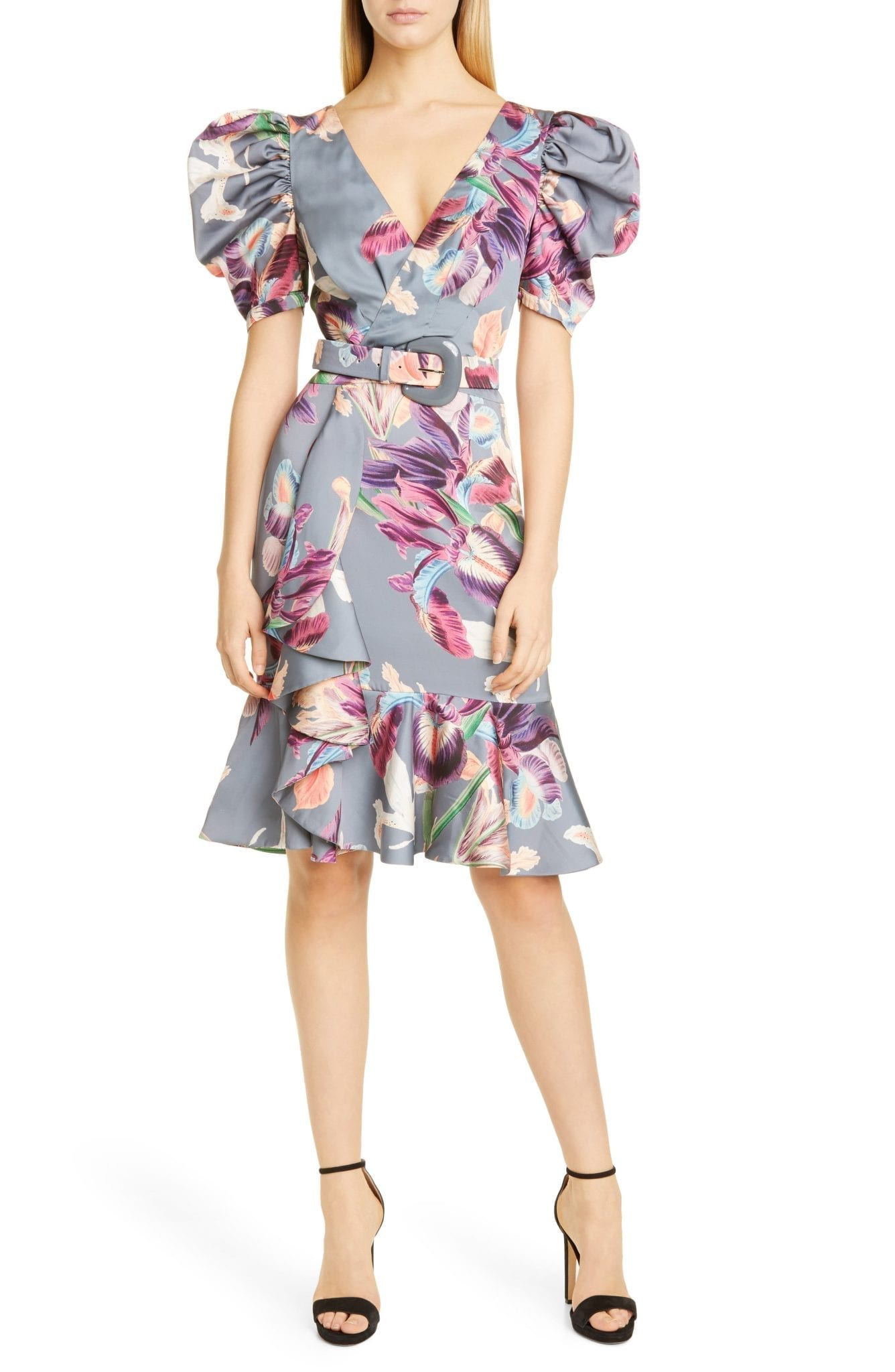 PATBO PATRICIA BONALDI PatBO Grace Puff Sleeve Belted Cocktail Dress
