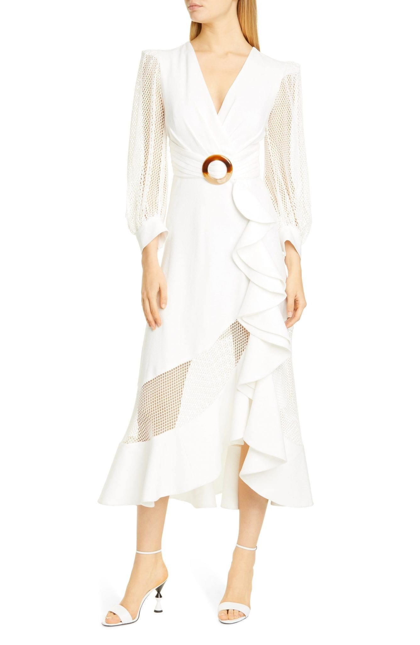 PATBO PATRICIA BONALDI PatBO Mesh Trim Belted Midi Dress