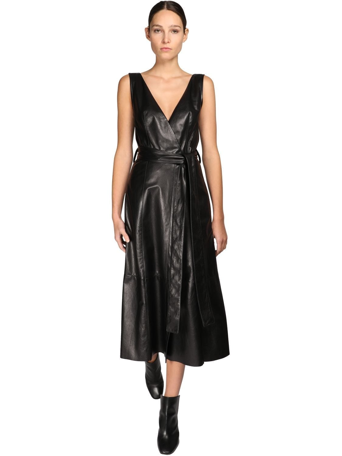 PETAR PETROV Leather Midi Dress