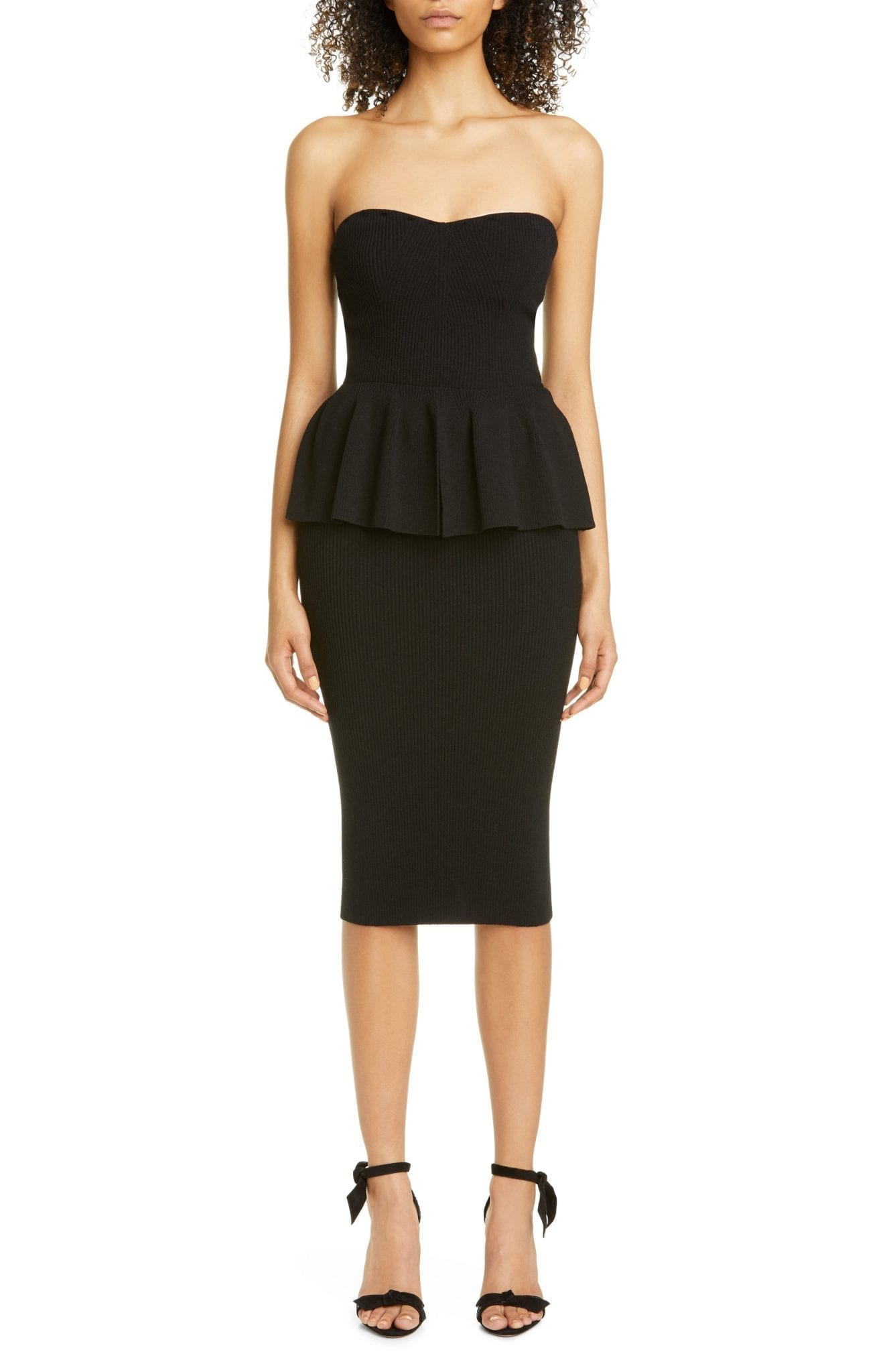PHILOSOPHY DI LORENZO SERAFINI Rib Peplum Bustier Sweater Dress