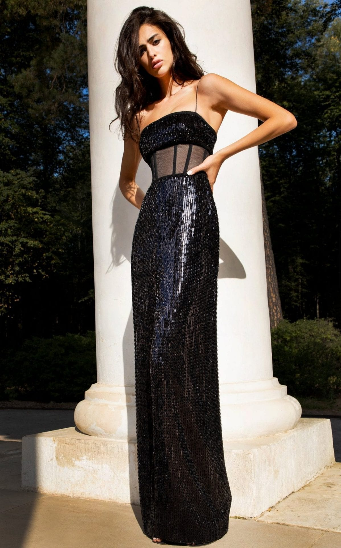 RASARIO Sequined Tulle Corset Gown