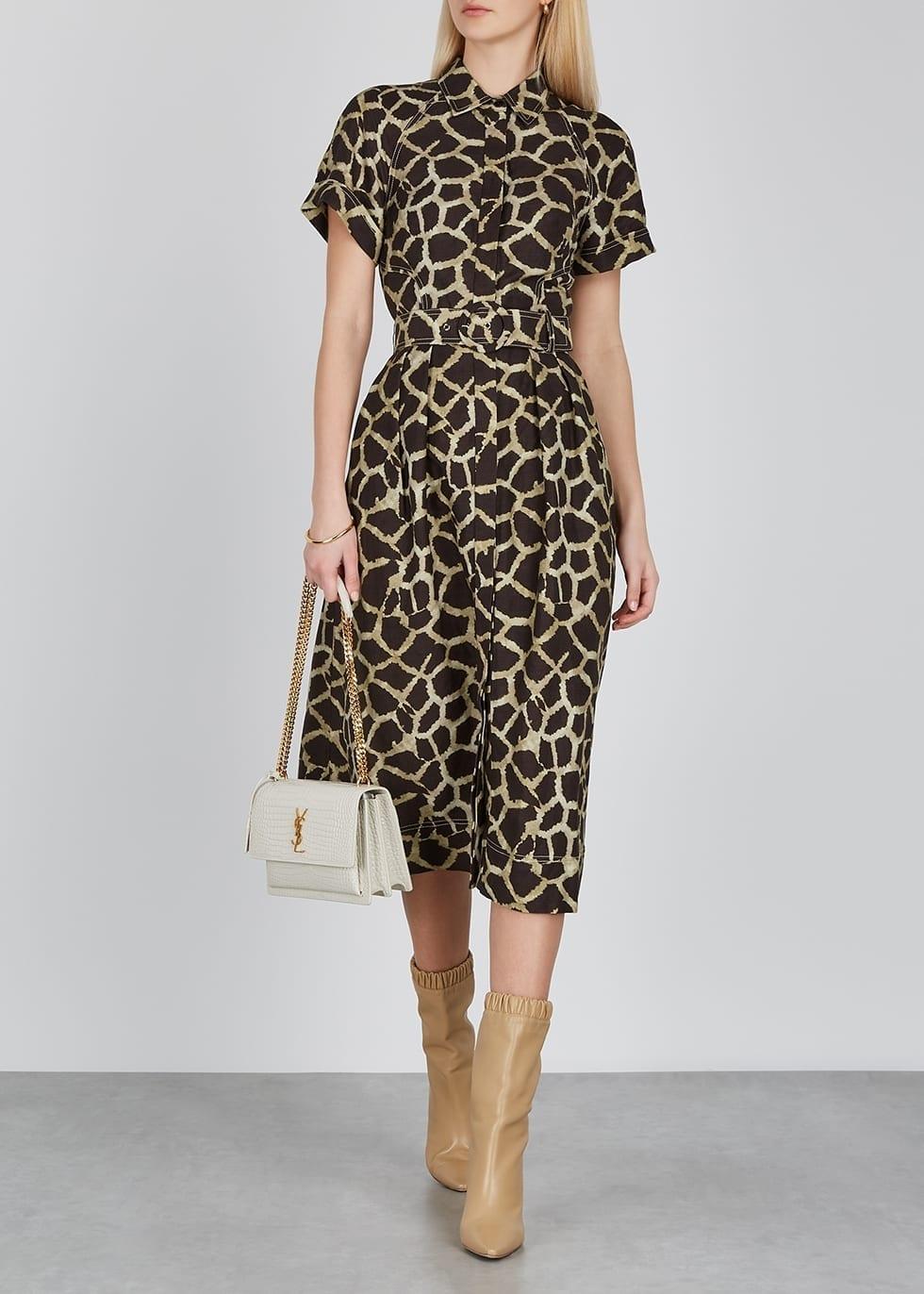 REBECCA VALLANCE Acacia Printed Linen-blend Shirt Dress