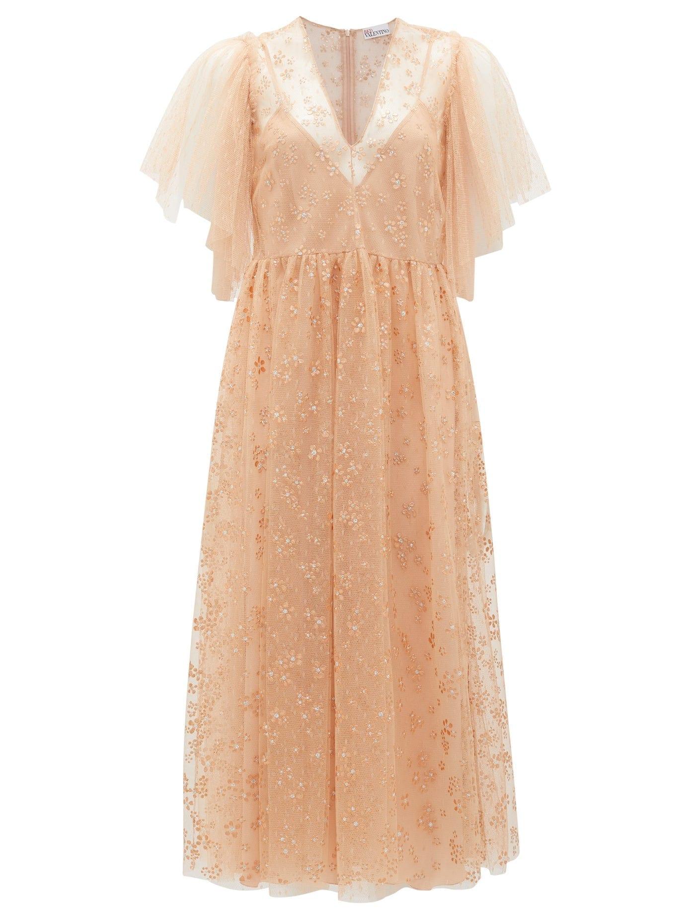 REDVALENTINO Painted-flower Tulle Midi Dress