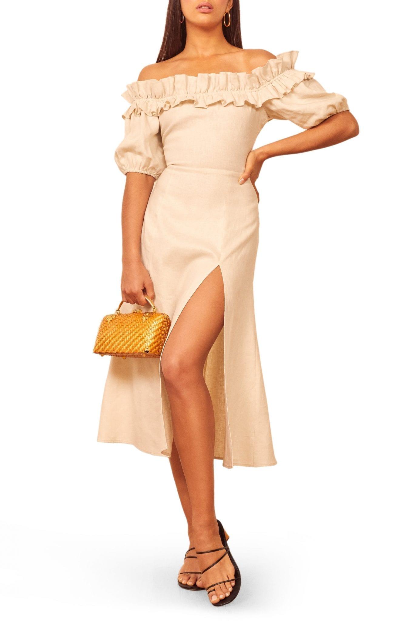 REFORMATION Marley Off the Shoulder Linen Dress