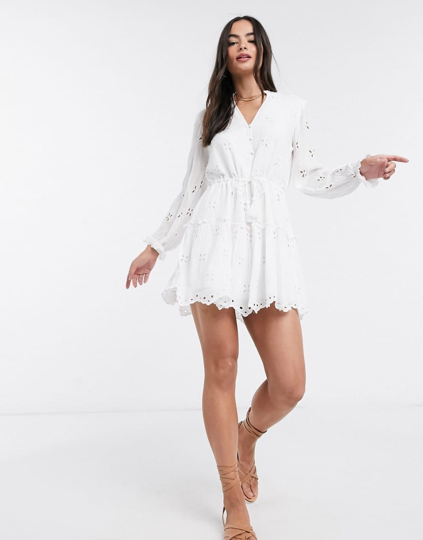 RIVER ISLAND Long Sleeve Broderie Smock Mini Dress