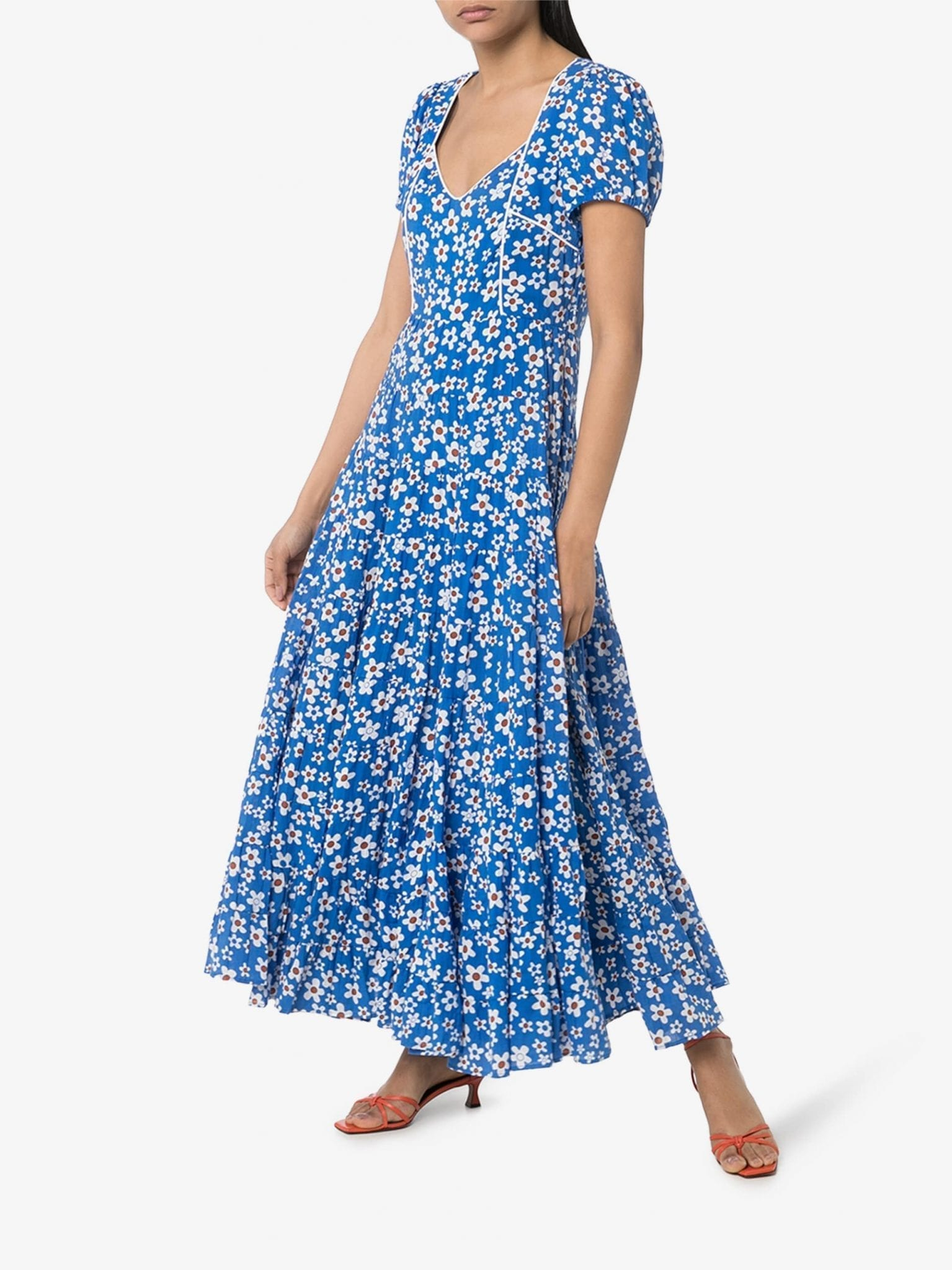 RIXO Tamara Floral-Print Maxi Dress