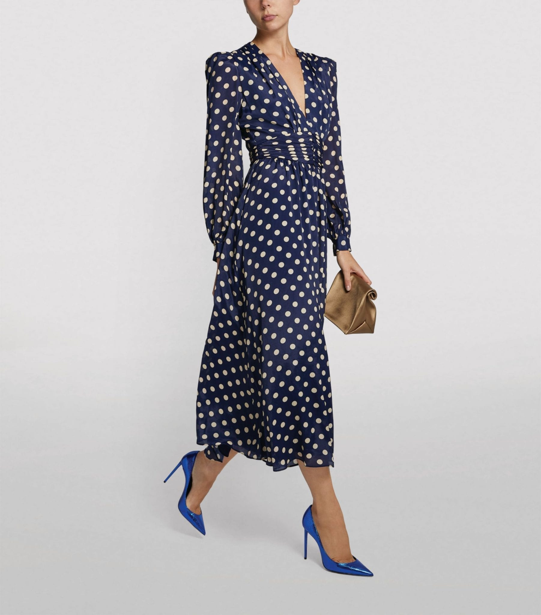 RONNY KOBO Polka-Dot Maria Midi Dress