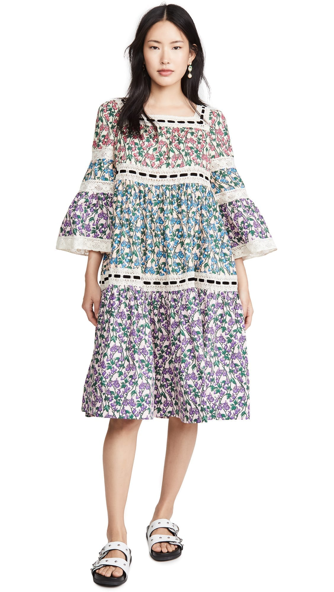 RUNWAY MARC JACOBS Flared Sleeves Tiered Prairie Dress