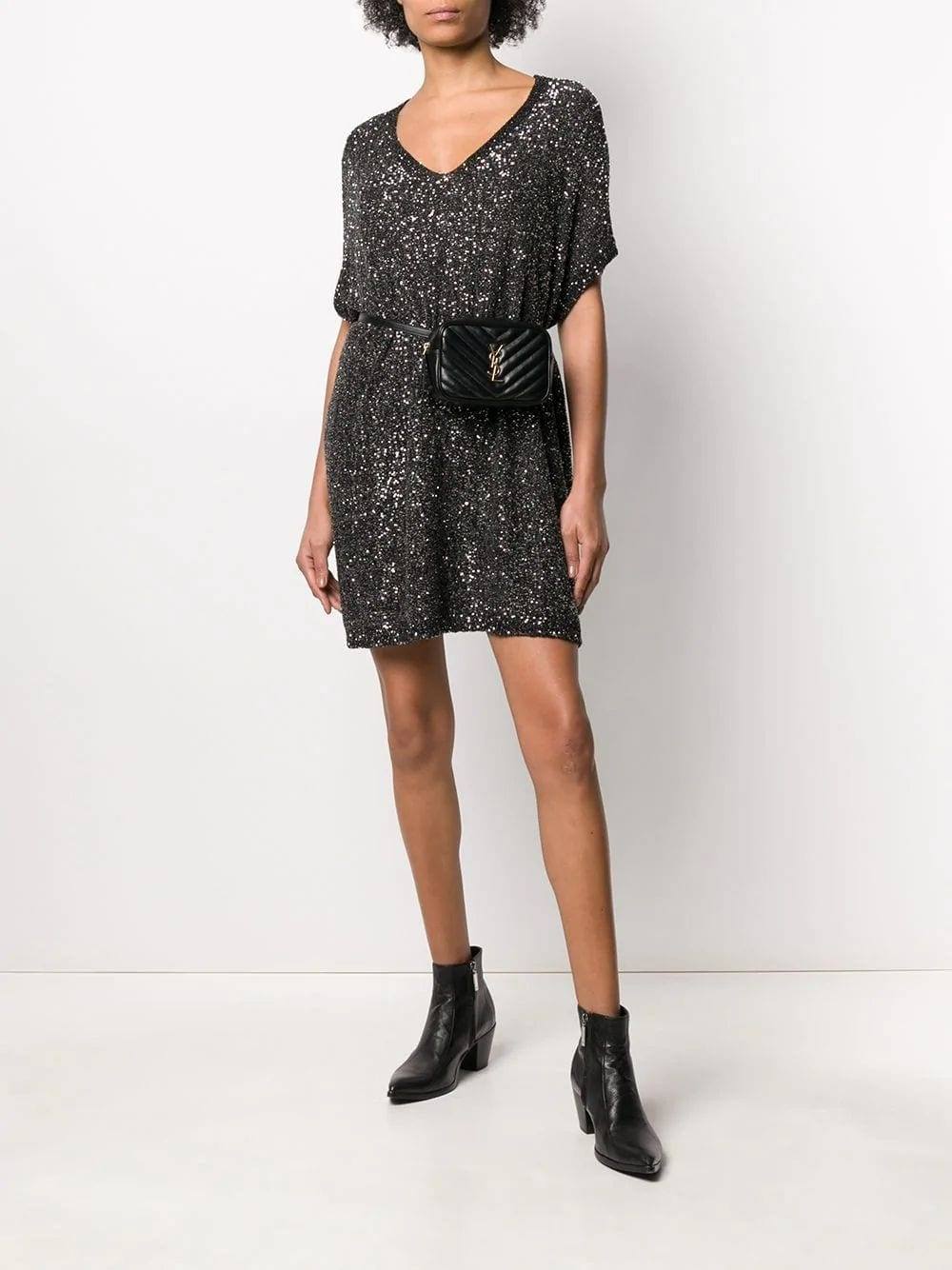 SAINT LAURENT Black And Silver Sequin Kaftan Dress
