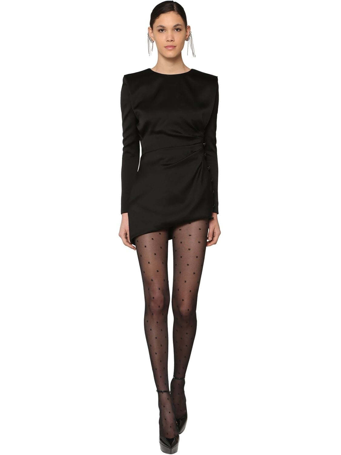 SAINT LAURENT Draped Silk Satin Mini Dress