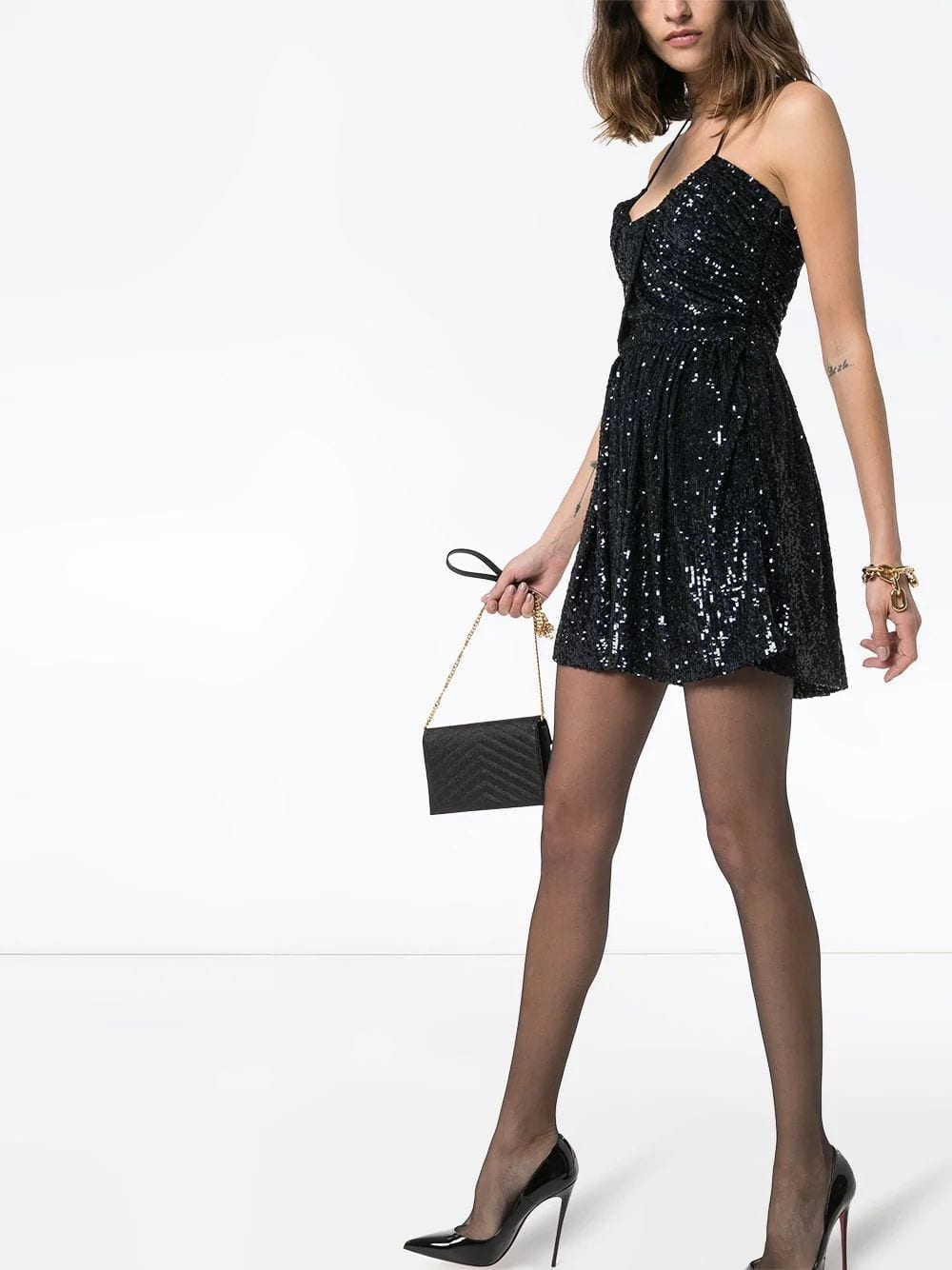 SAINT LAURENT Navy Sequined Halter Mini Dress