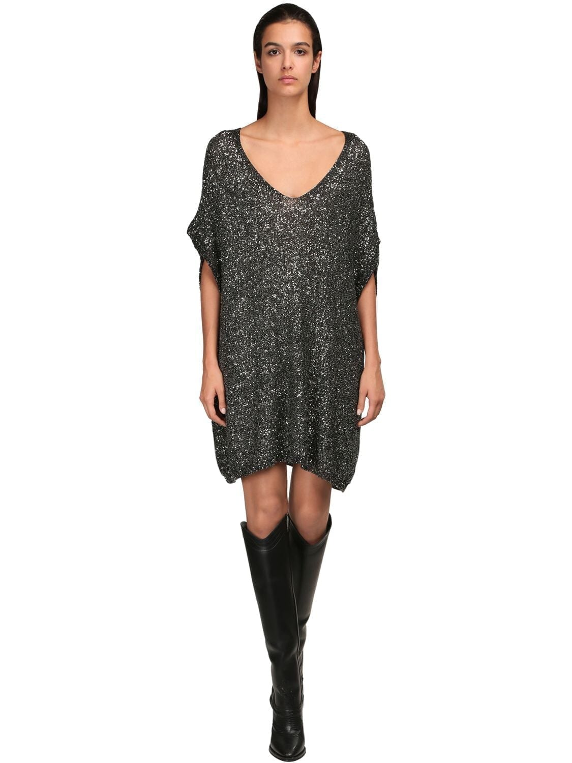 SAINT LAURENT Sequined Knit Mesh Dress
