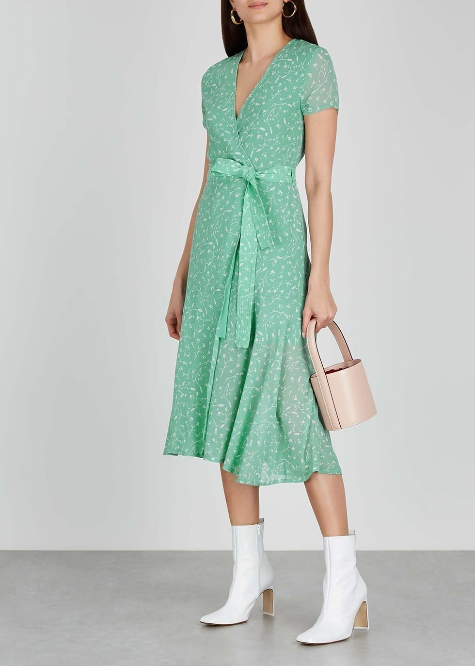 SAMSØE & SAMSØE Green Floral-print Midi Dress