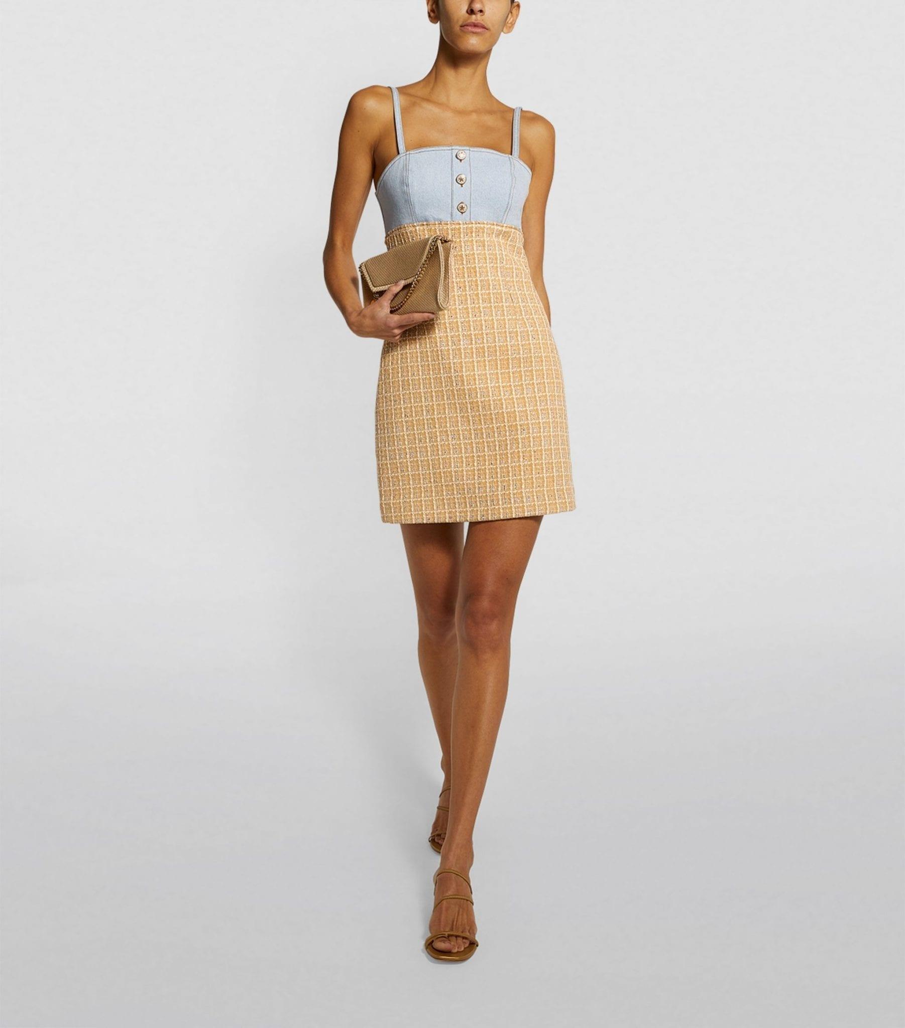 SANDRO PARIS Denim Tweed Mini Dress