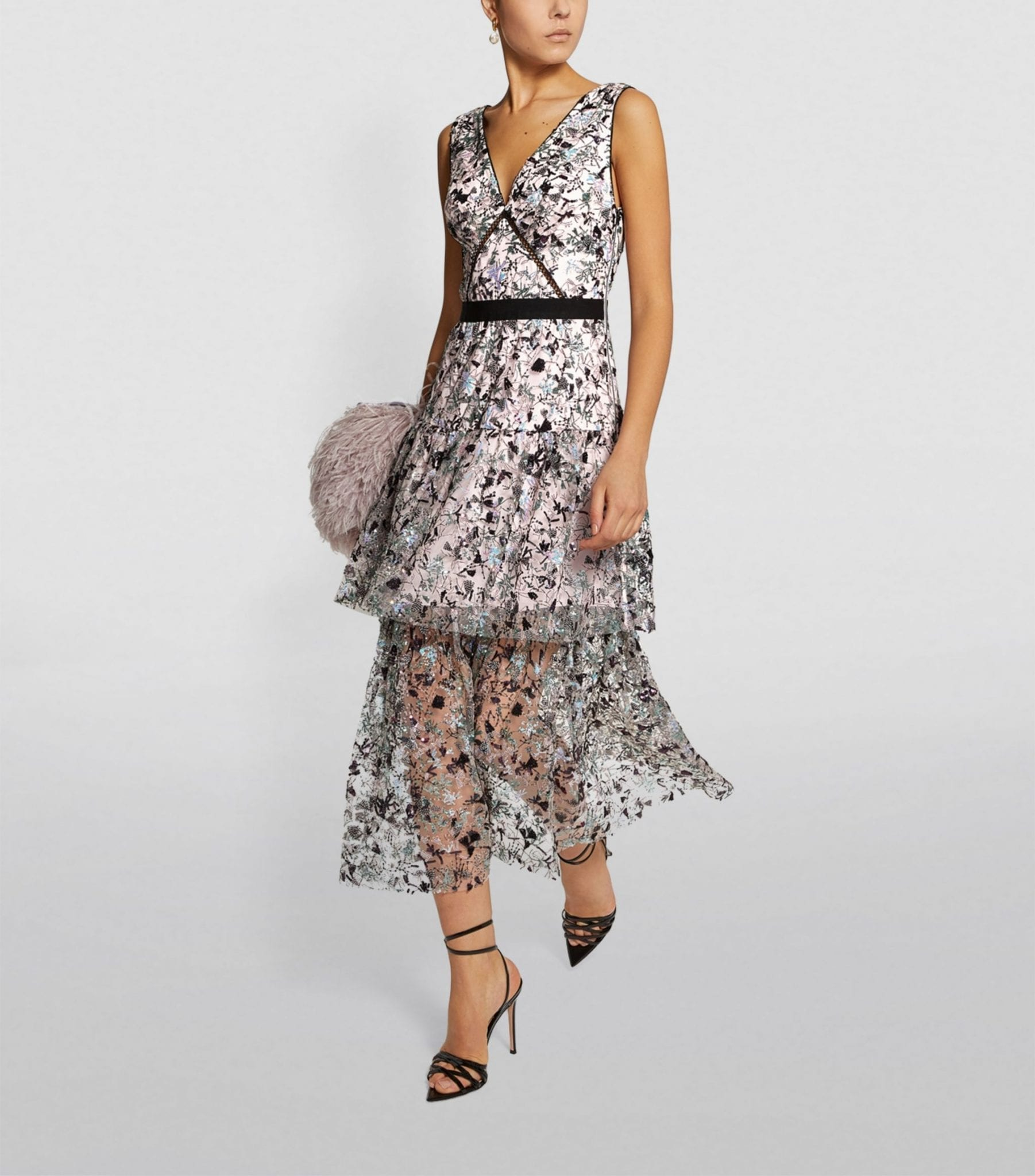 SELF-PORTRAIT Constellation Sequin Midi Dress