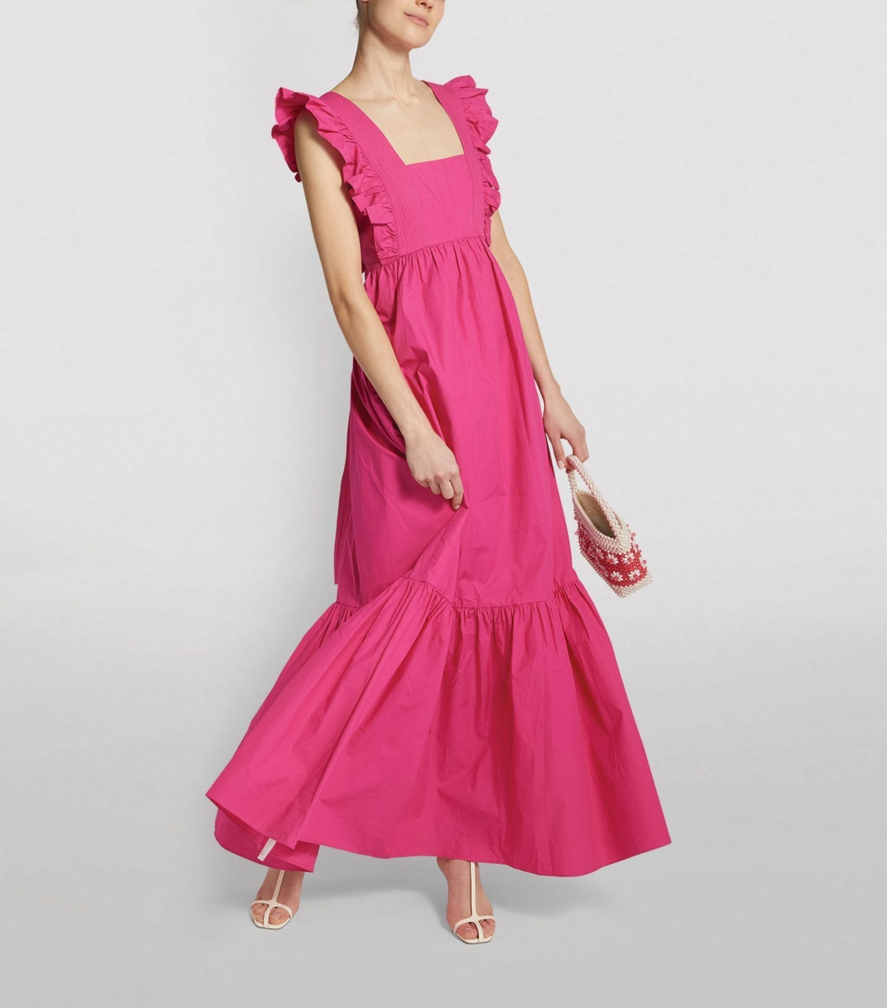 SELF-PORTRAIT Cotton Ruffle-Trim Maxi Dress
