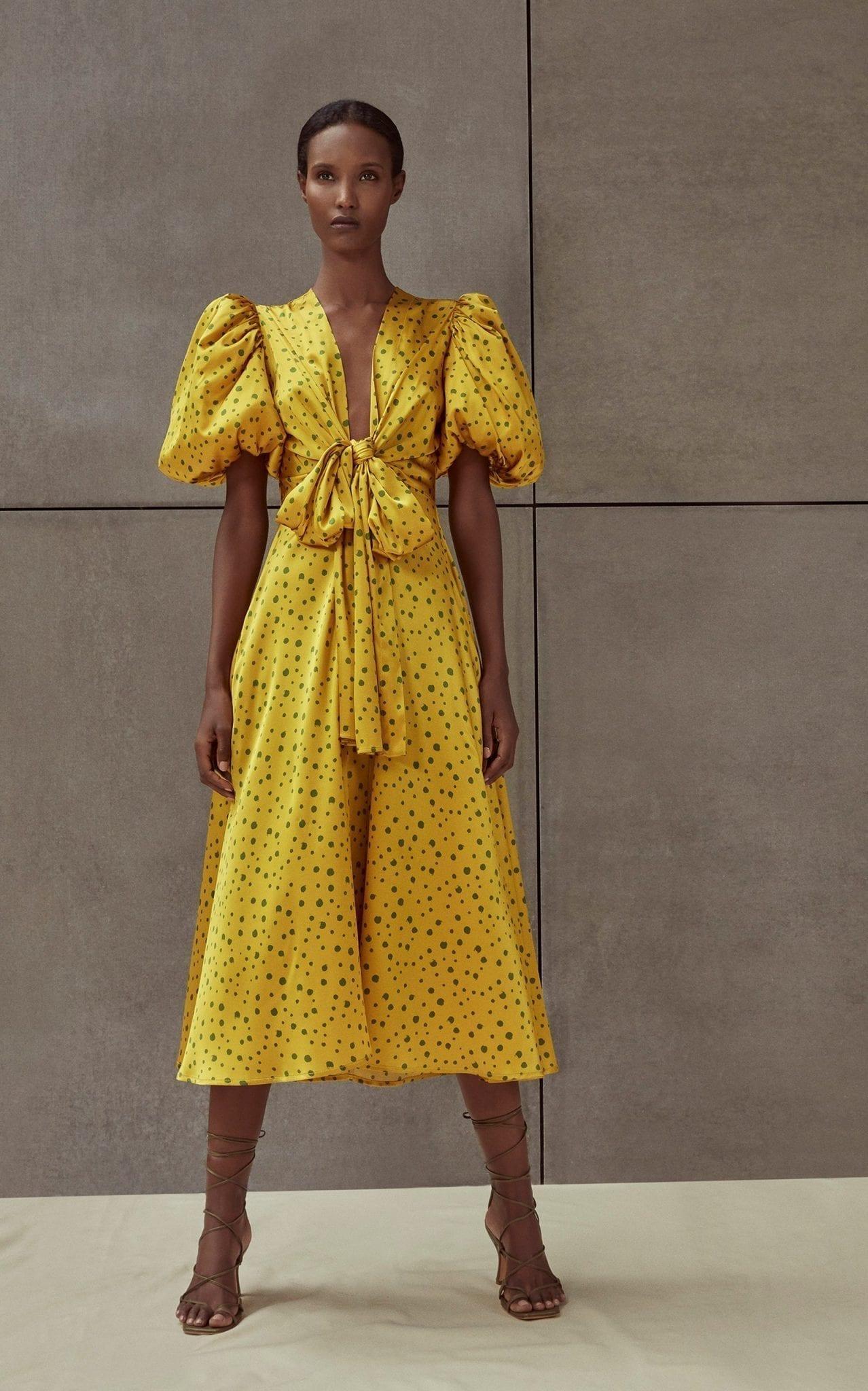 SILVIA TCHERASSI Lirio Polka-Dot Silk-Satin Midi Dress