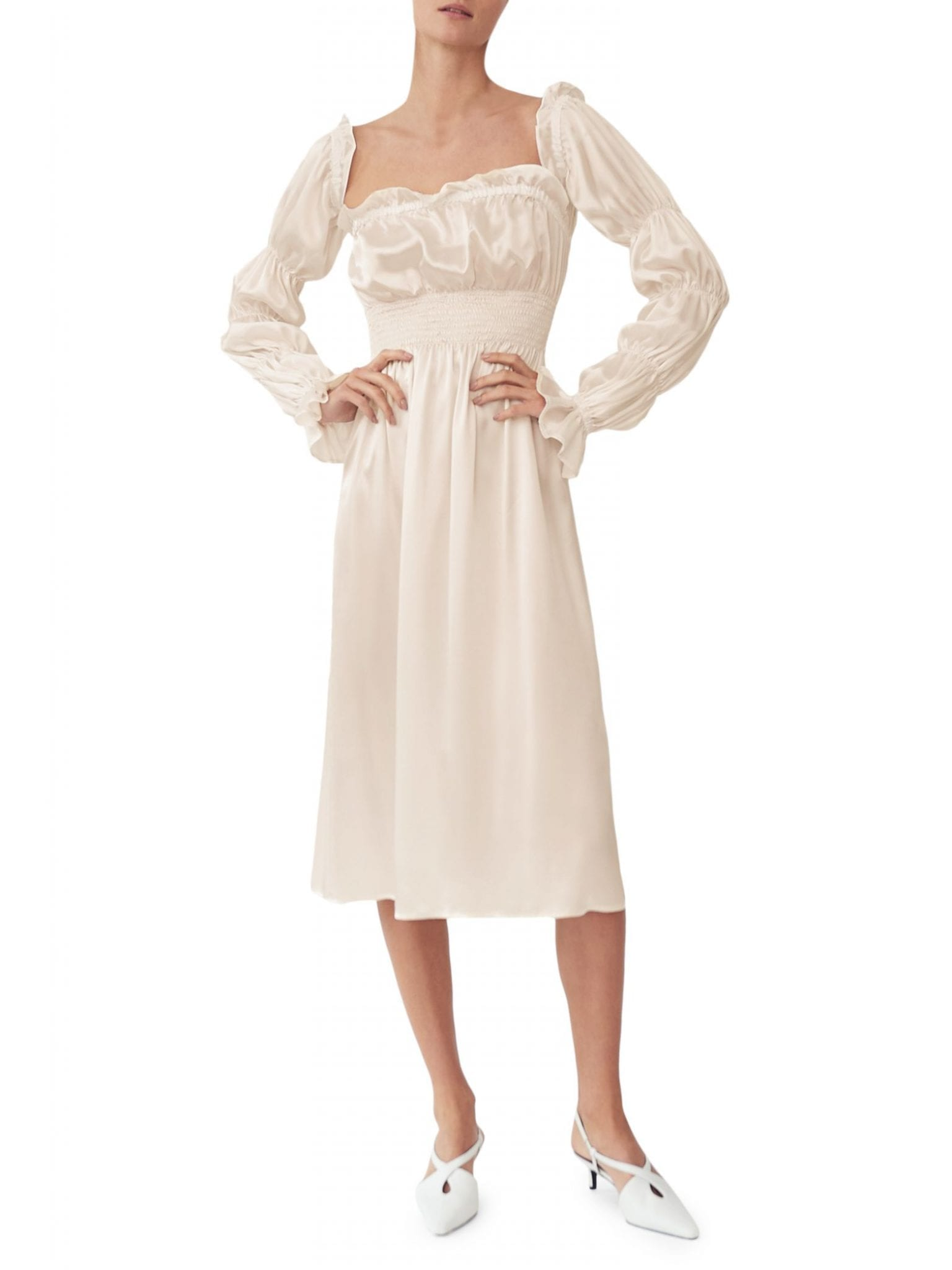 SLEEPER Michelin Ruched Long-Sleeve Silk Dress