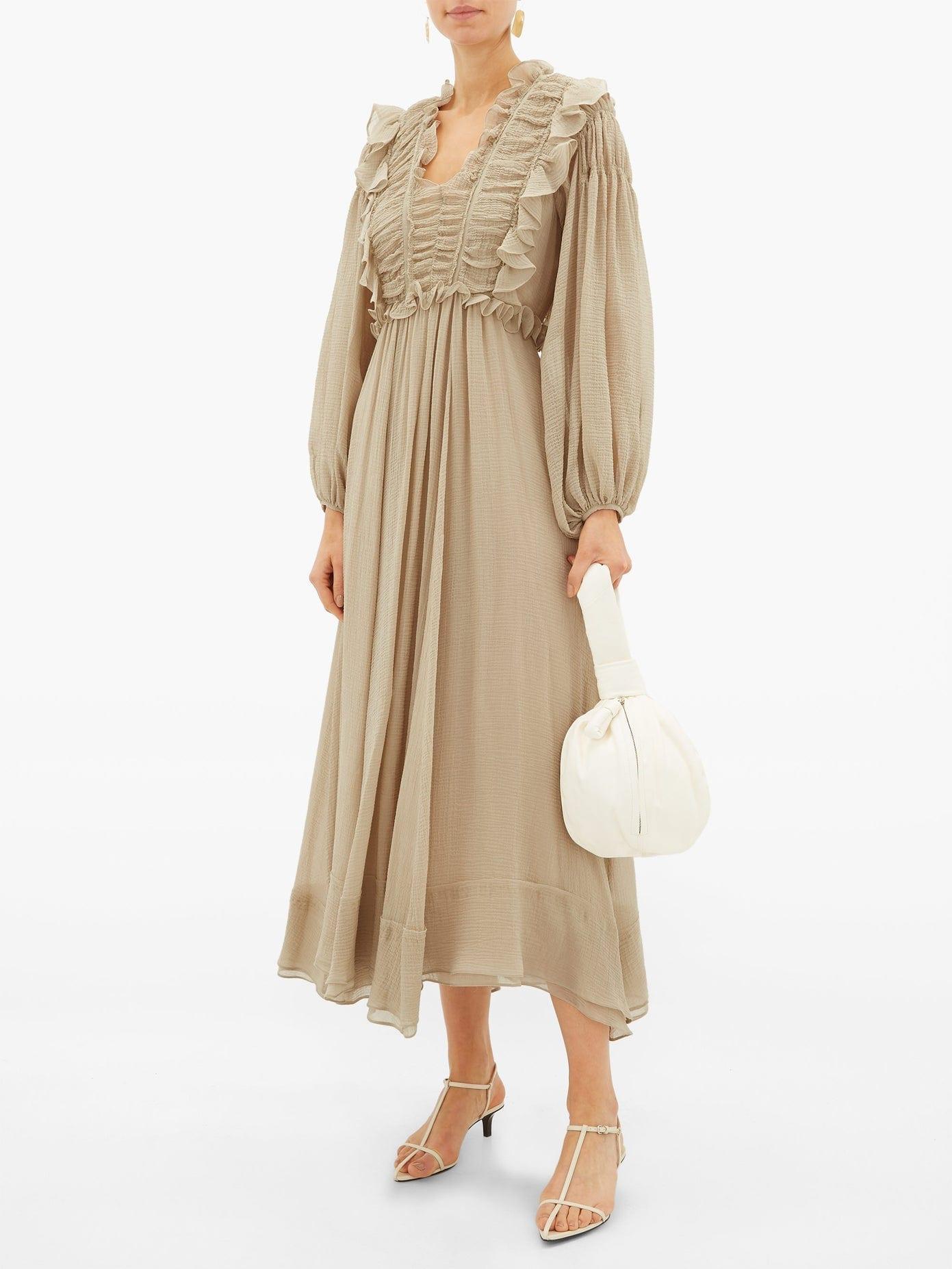 SSŌNE Spirit Ruffled Crinkled-voile Midi Dress