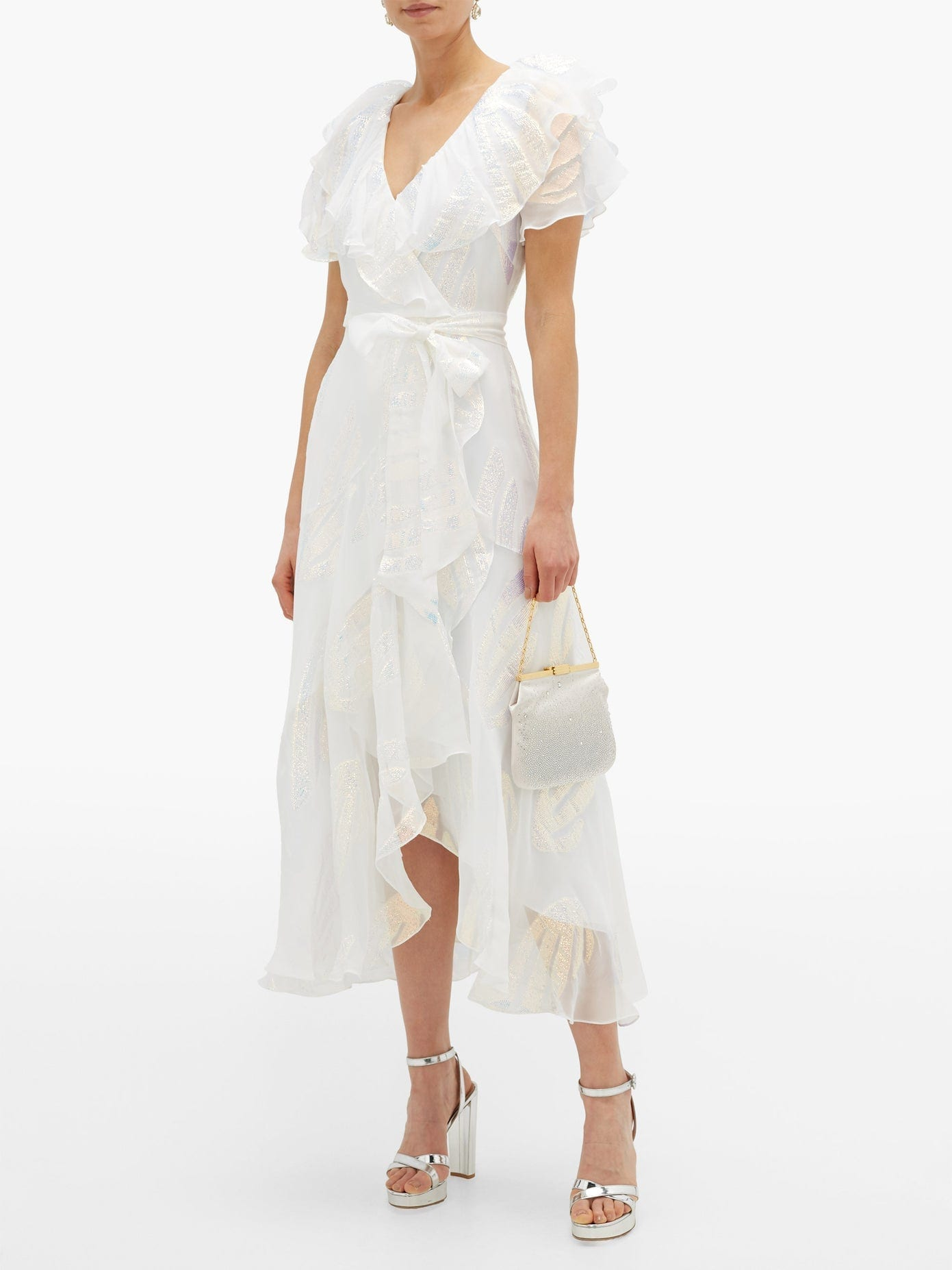 TEMPERLEY LONDON Clarisse Ruffled Metallic-jacquard Chiffon Dress
