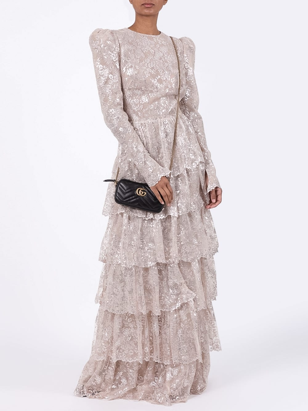 THE VAMPIRE'S WIFE Tiered Floral Lace Gown