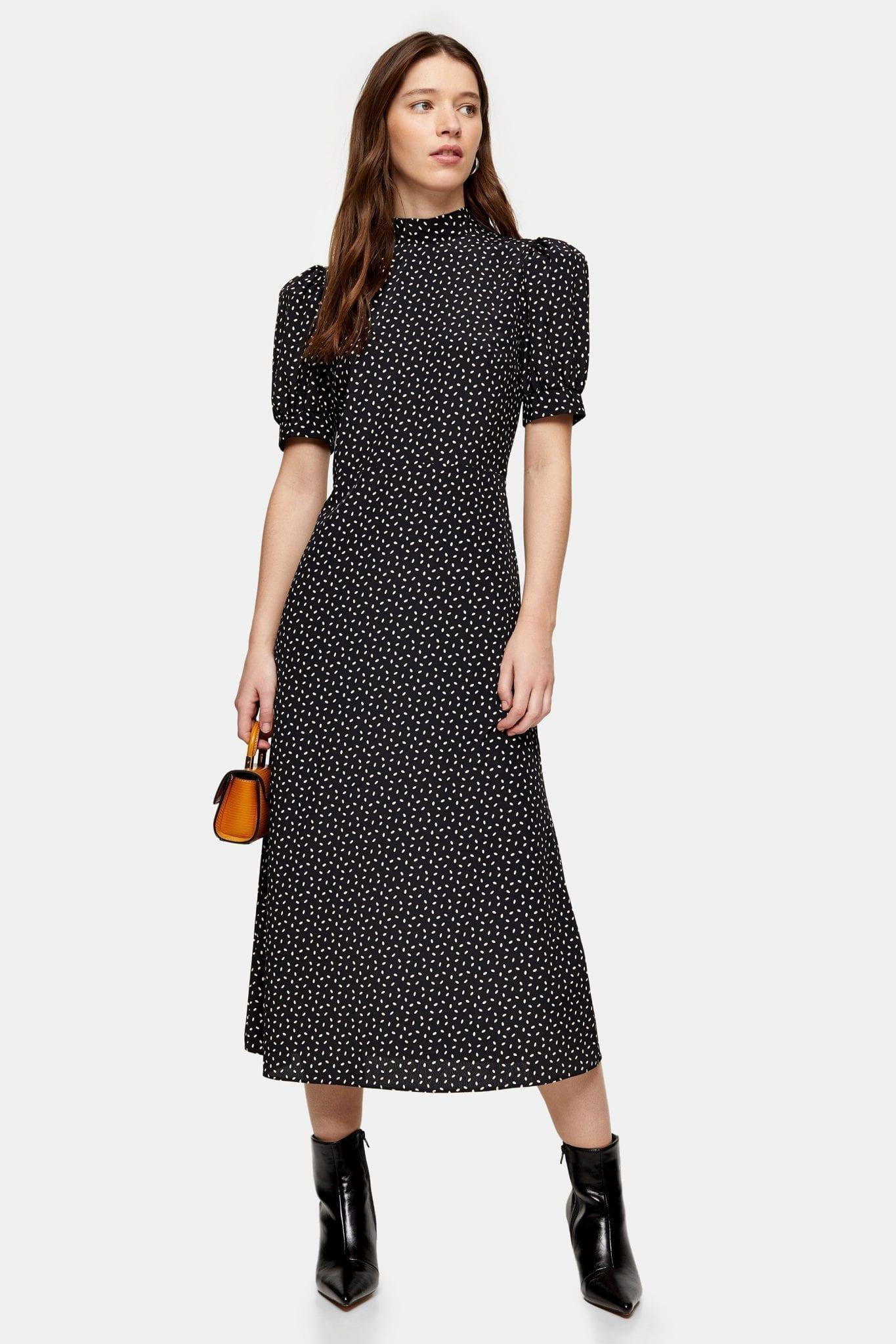 TOPSHOP Black And White Spot Tea Dress