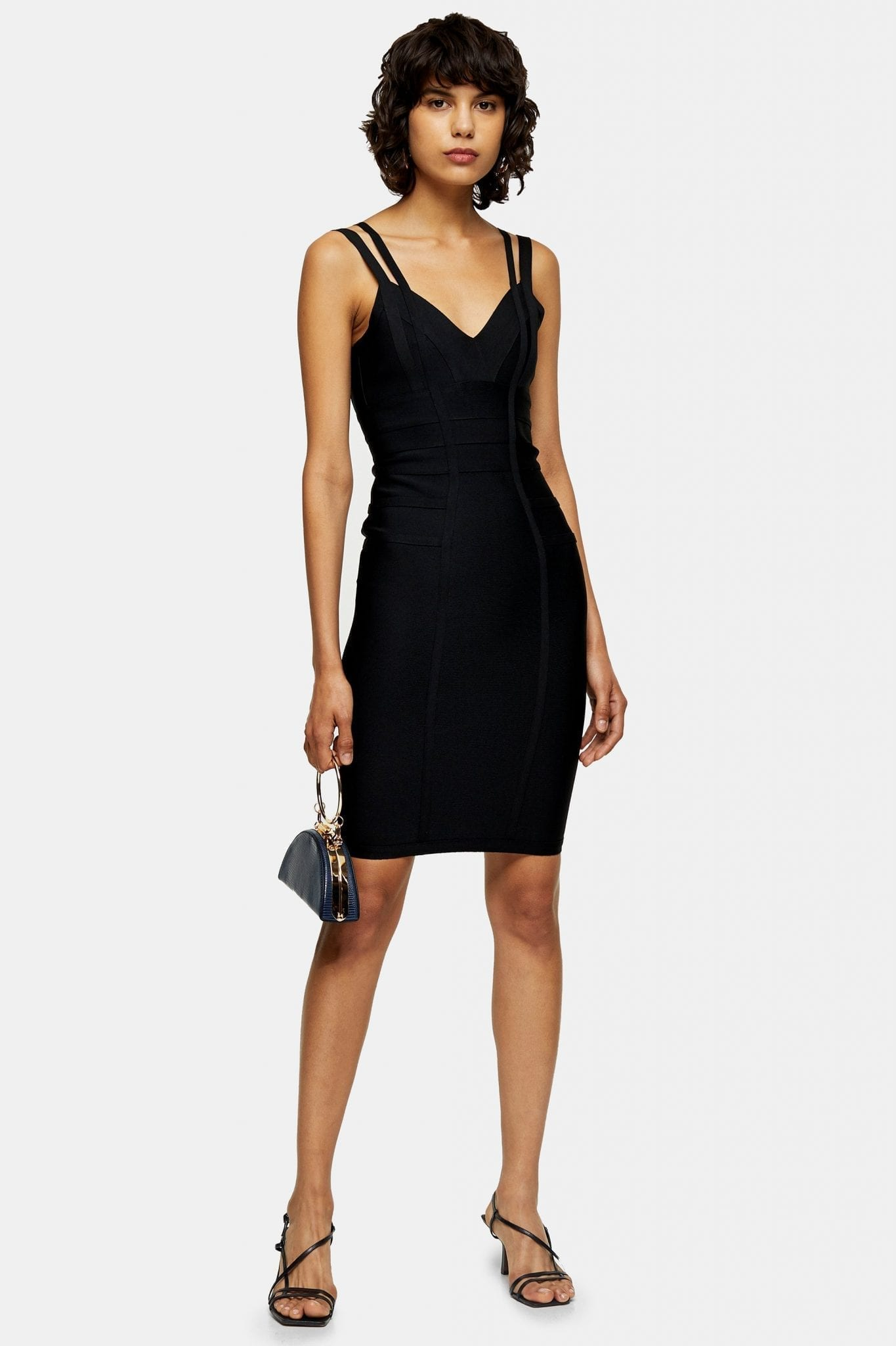 TOPSHOP Black Bandage Midi Dress