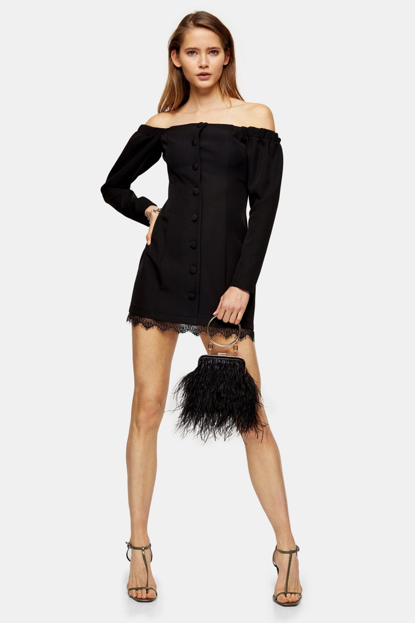 TOPSHOP Black Lace Bardot Mini Dress