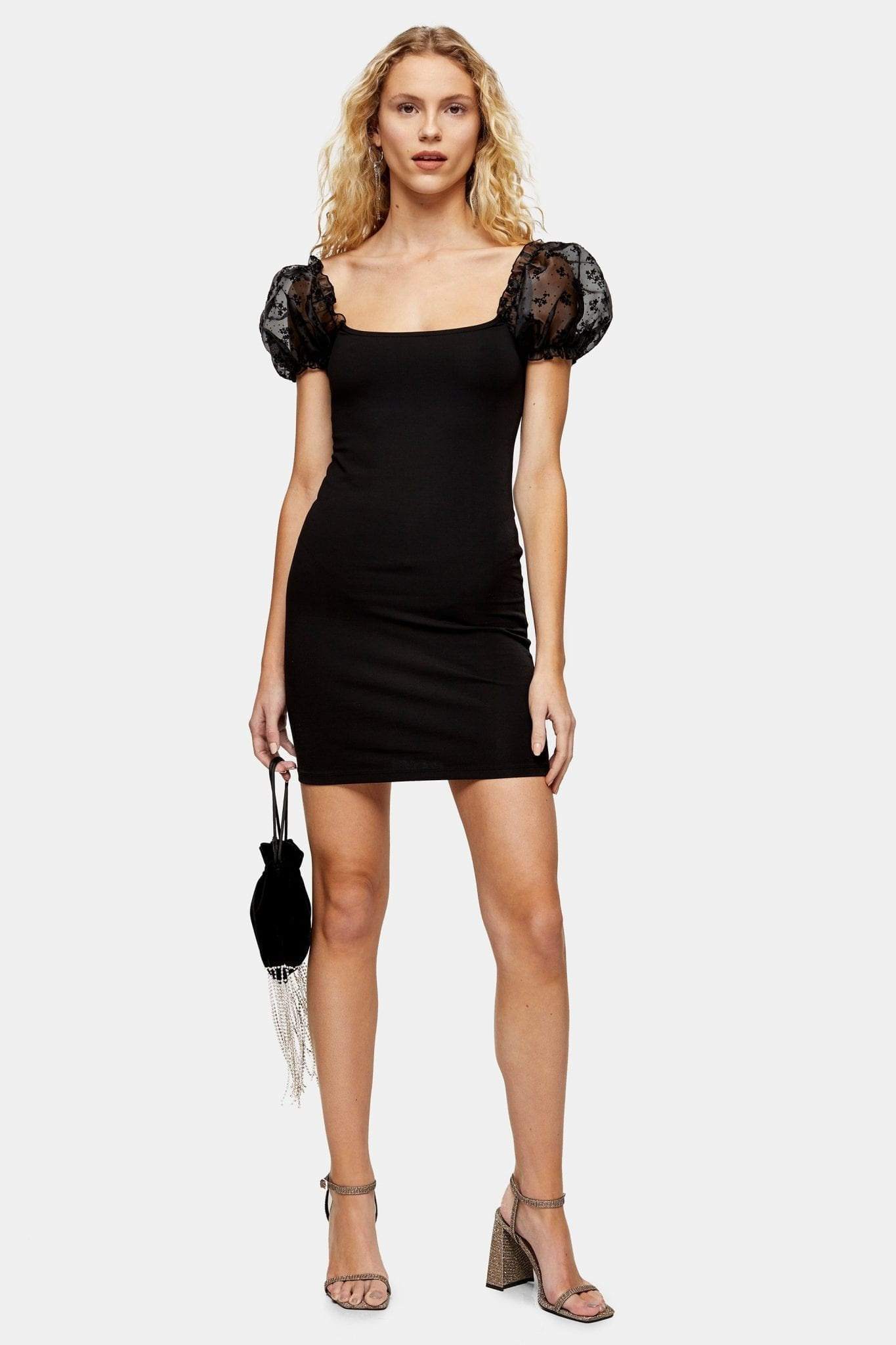 TOPSHOP Black Organza Mini Dress