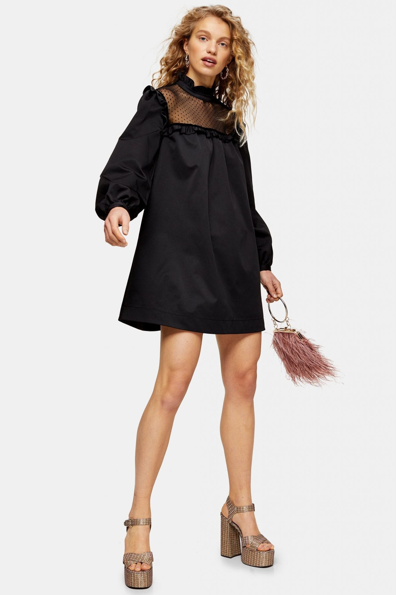 TOPSHOP Black Ottoman Mini Dress