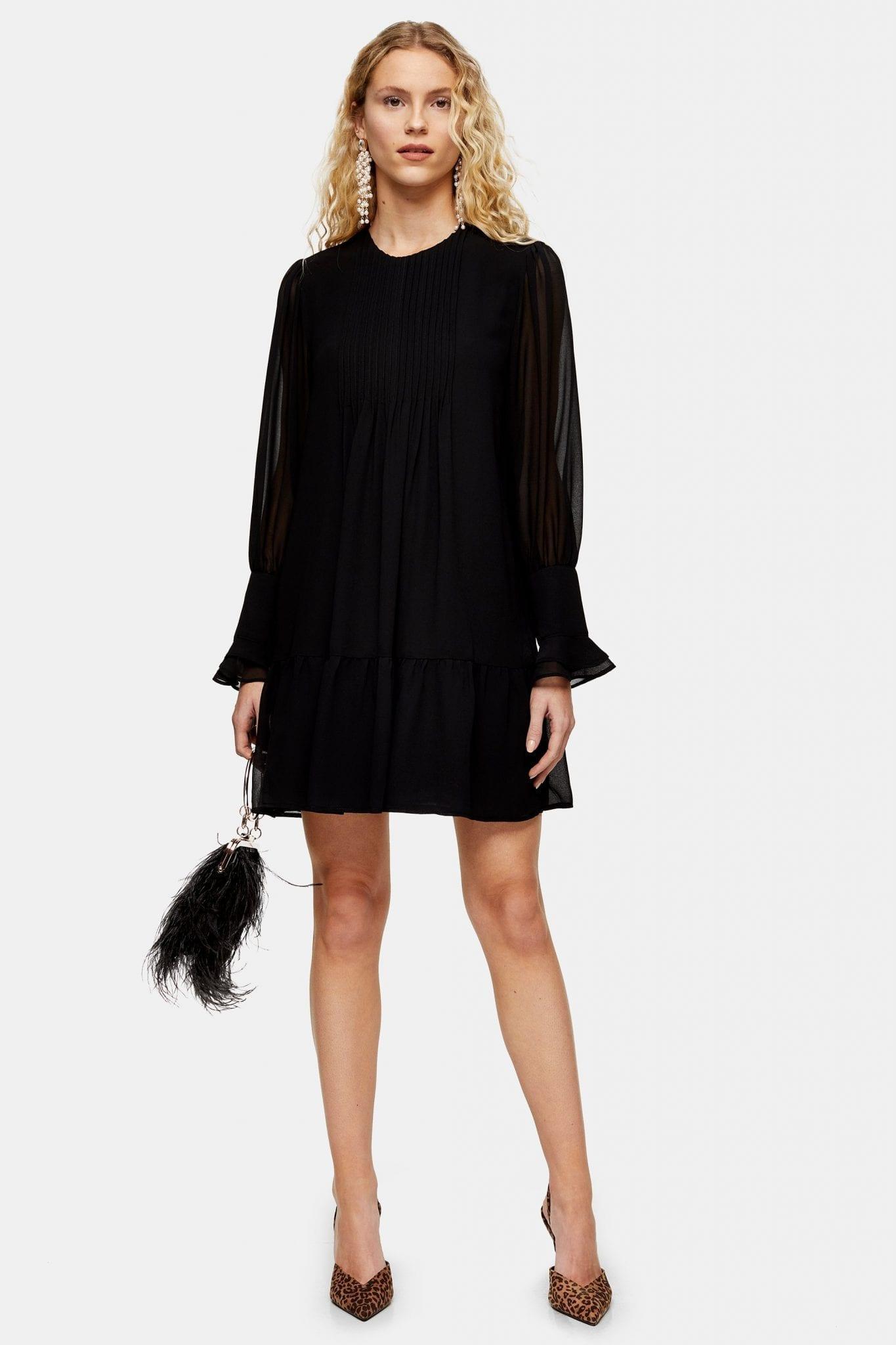 TOPSHOP Black Pintuck Mini Dress