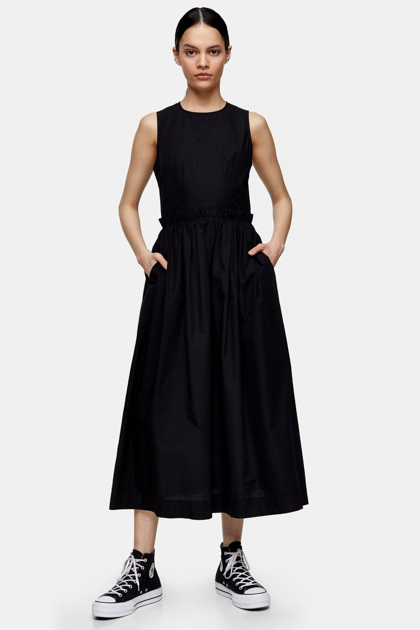 TOPSHOP Black Poplin Dress