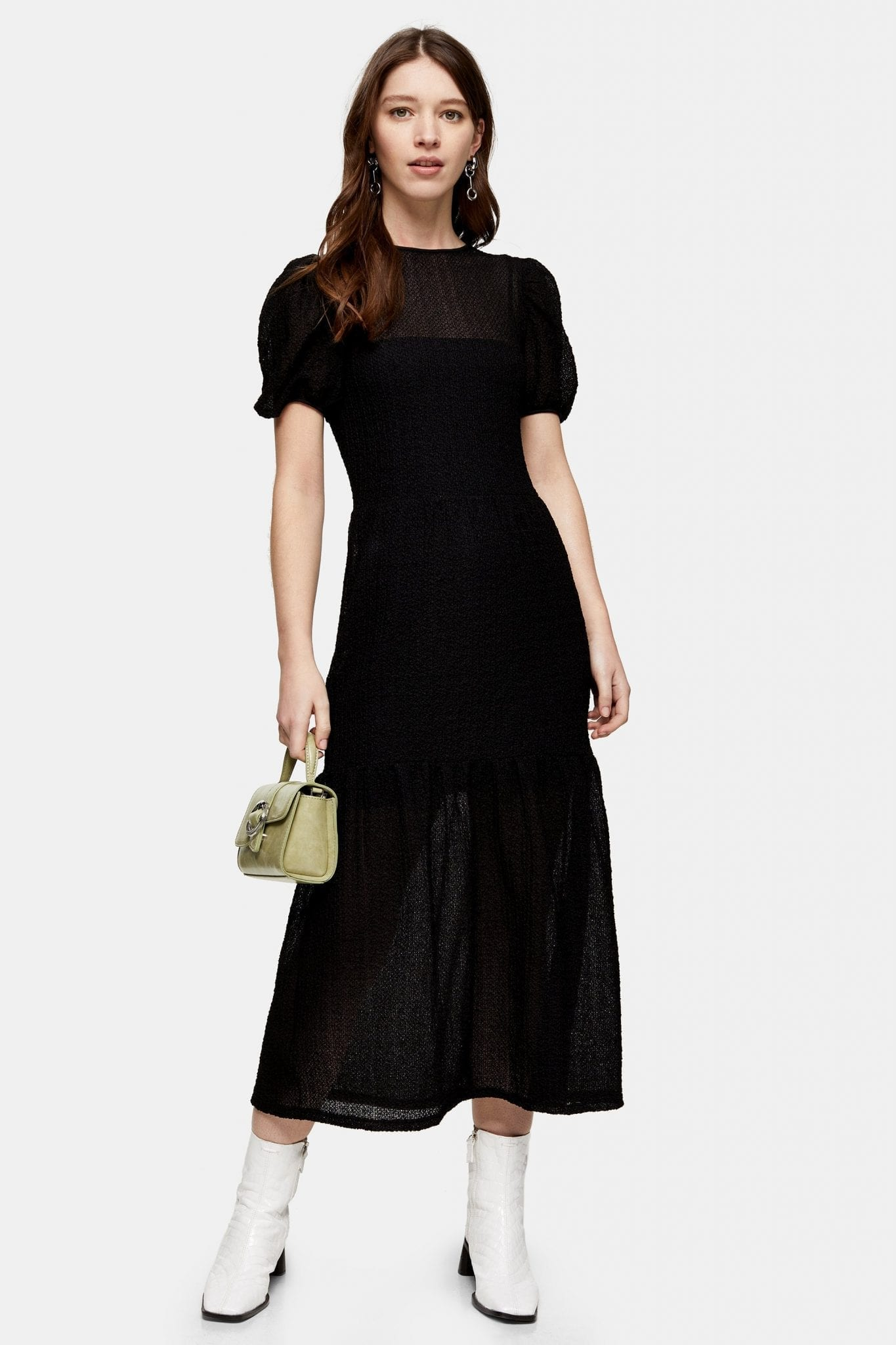 TOPSHOP Black Textured Lace Midi Dress
