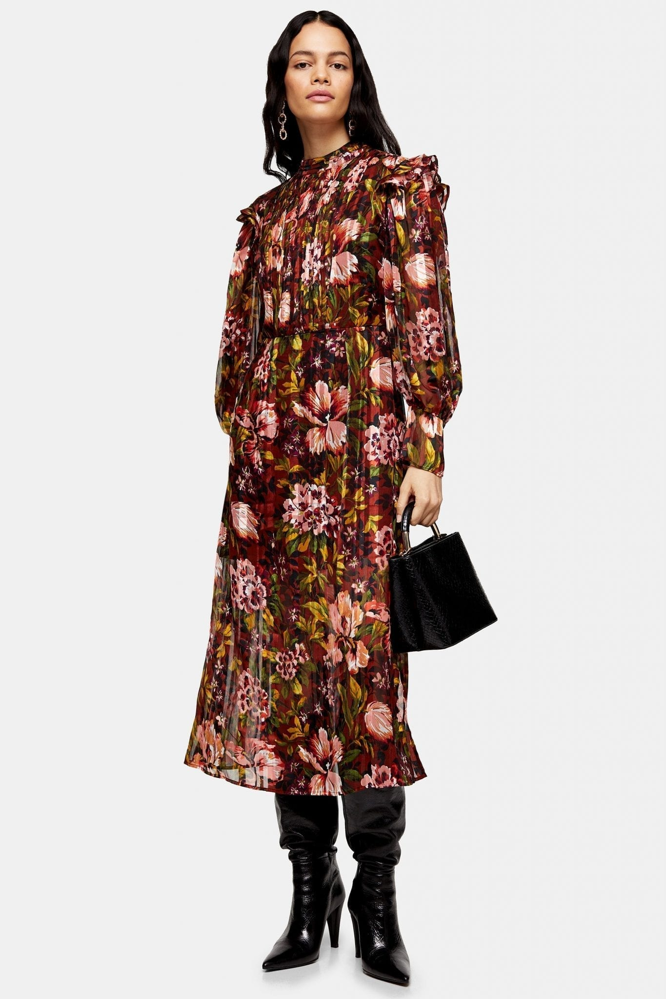 TOPSHOP Brown Fallen Floral Jacquard Midi Dress