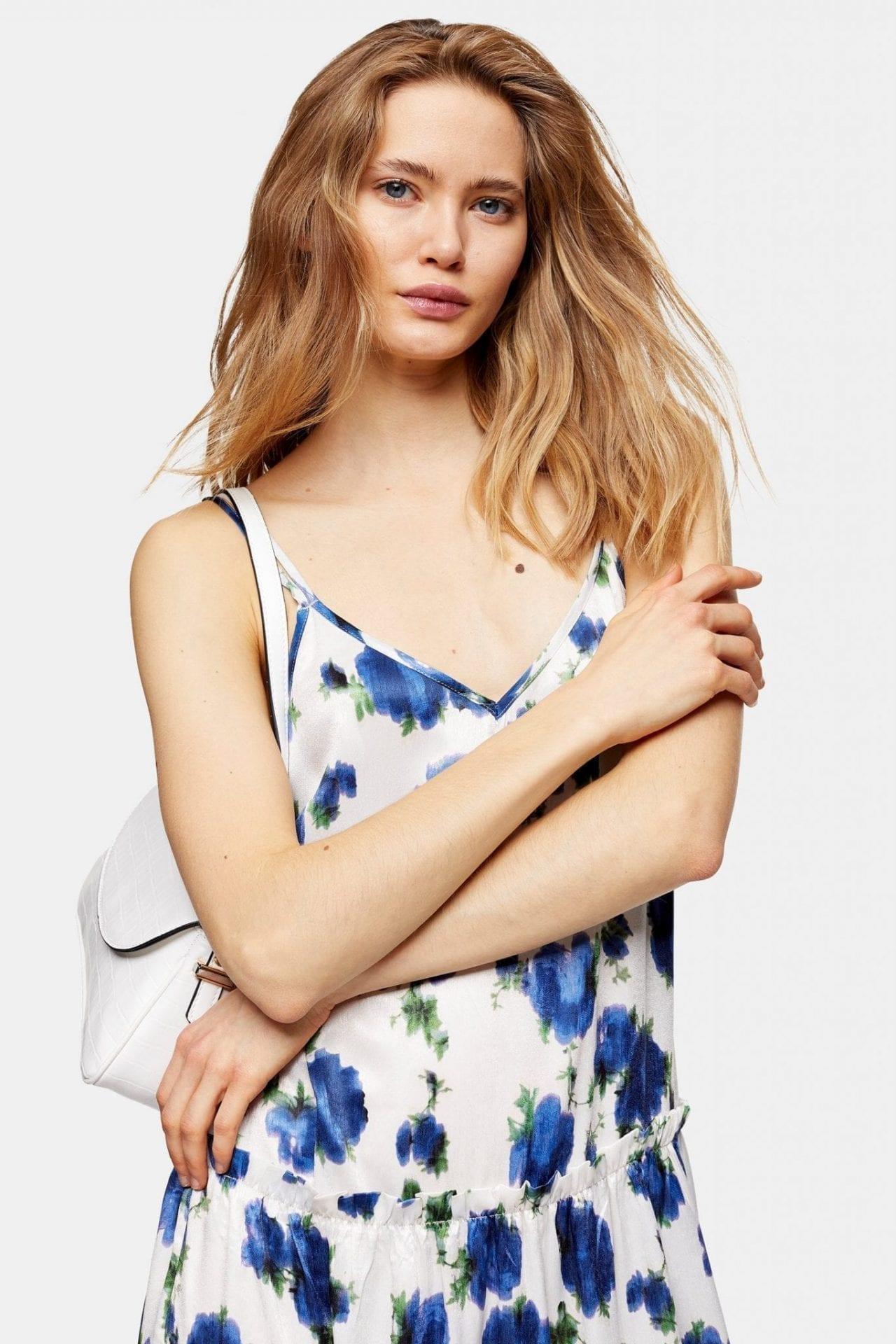 Topshop Floral Lace Cold Shoulder Slipdress