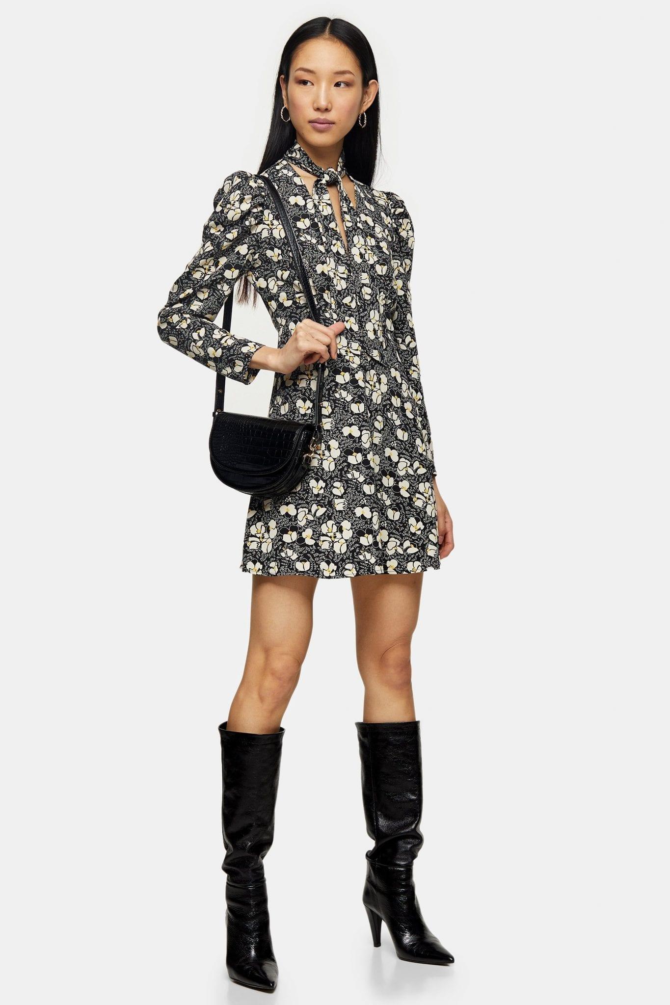TOPSHOP Lily Print Tie Neck Mini Dress