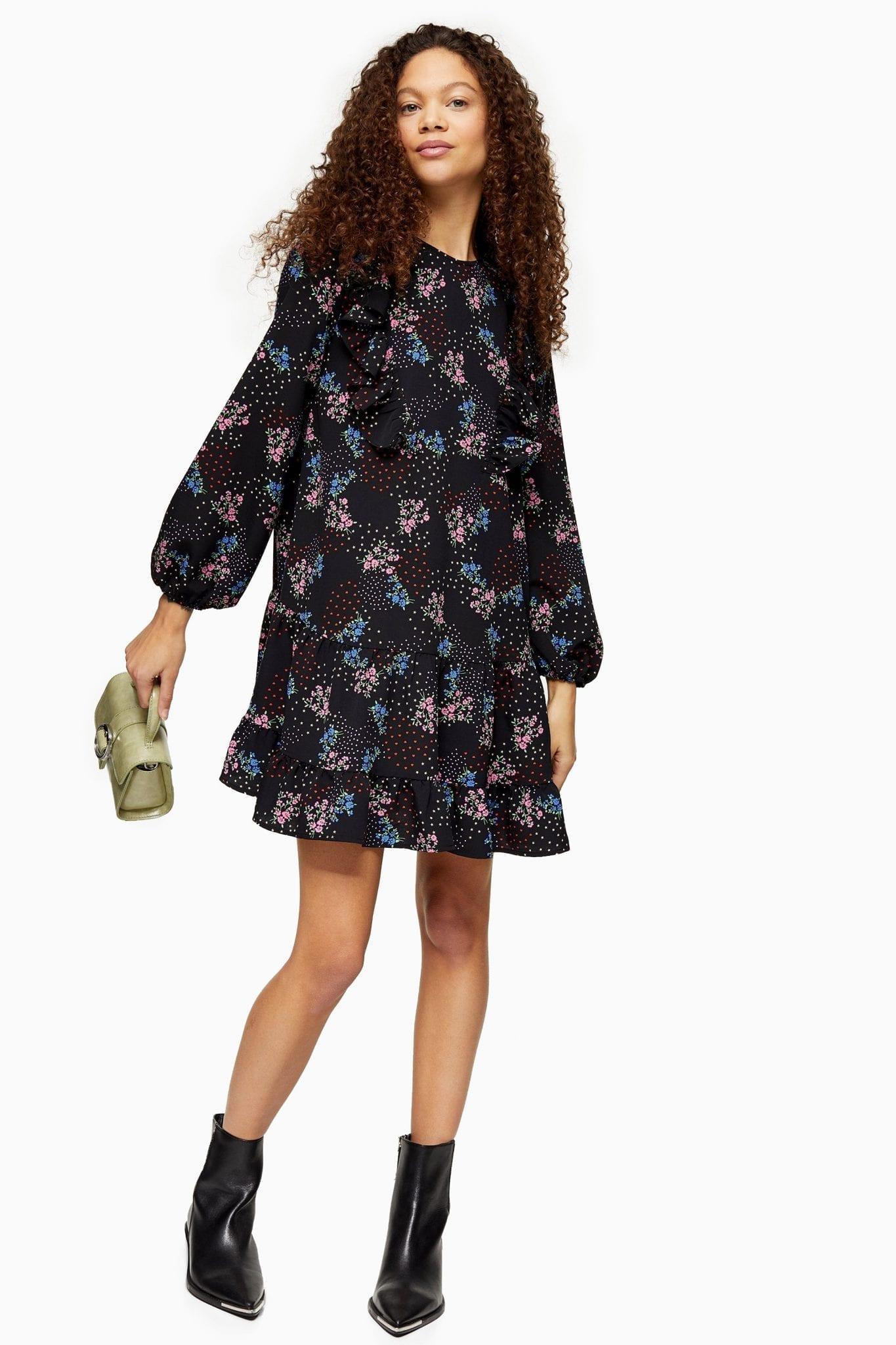 TOPSHOP PETITE Ruffle Heart Star Mini Dress