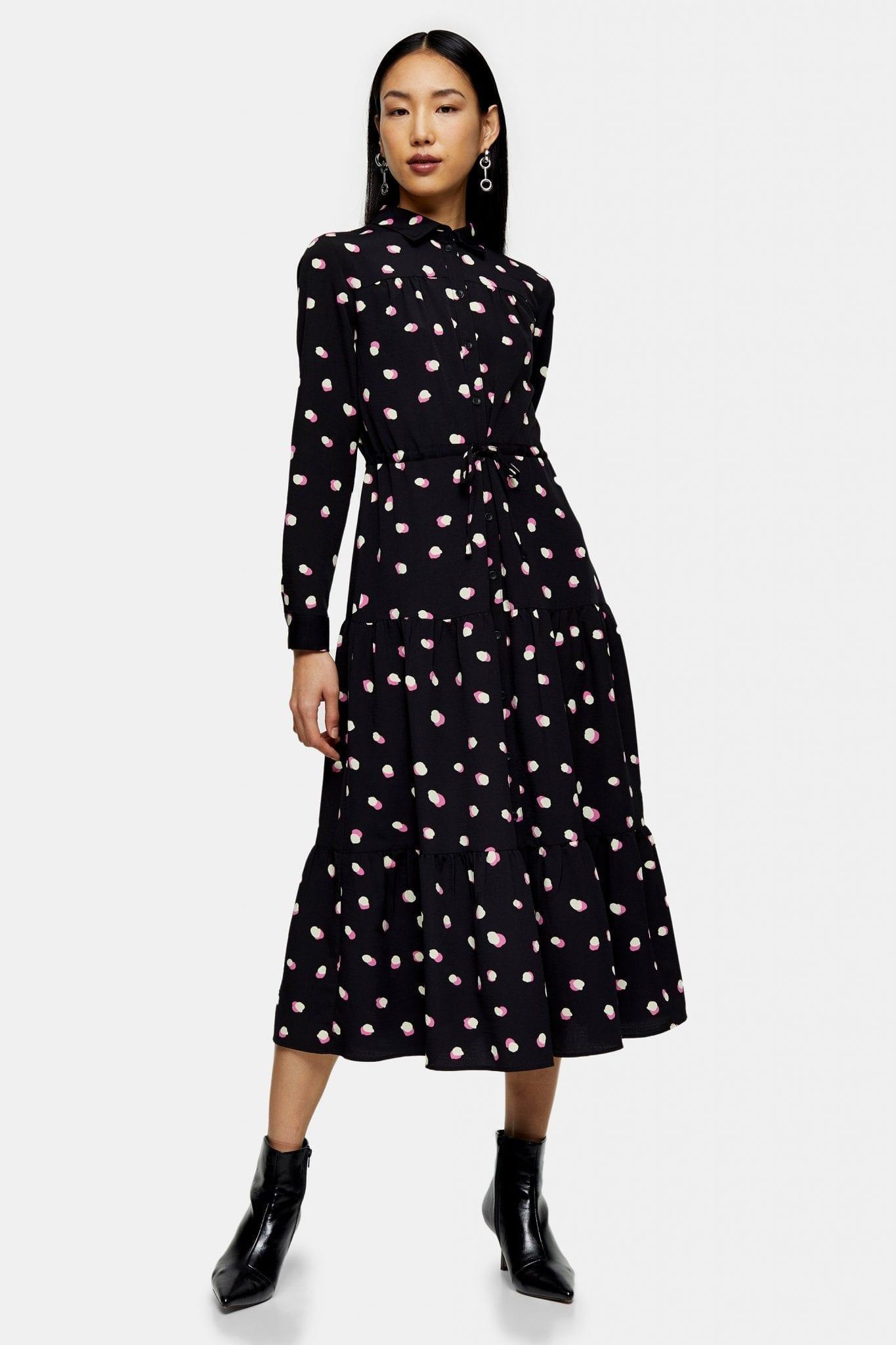 TOPSHOP Spot Tiered Midi Shirt Dress