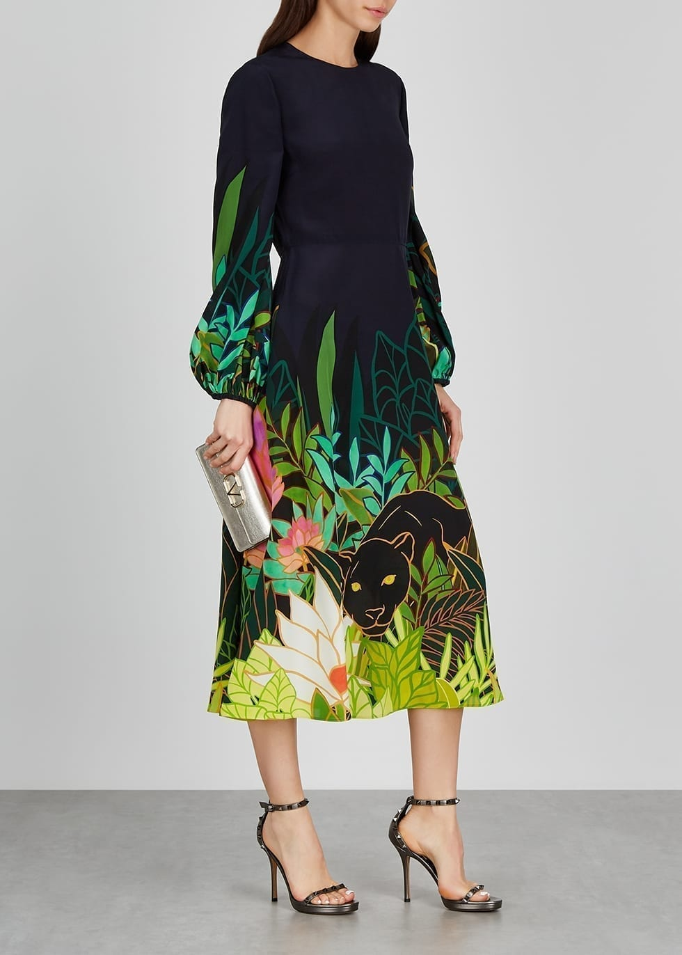 VALENTINO Navy Printed Silk Midi Dress