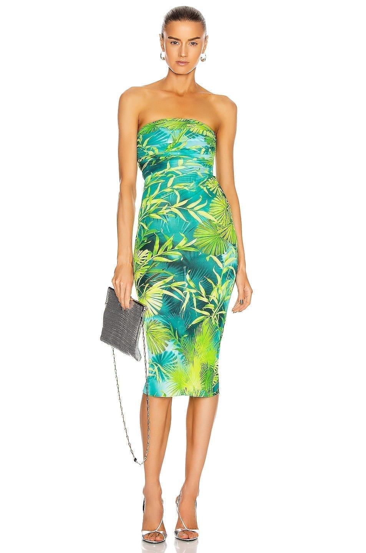 VERSACE Palms Strapless Midi Dress